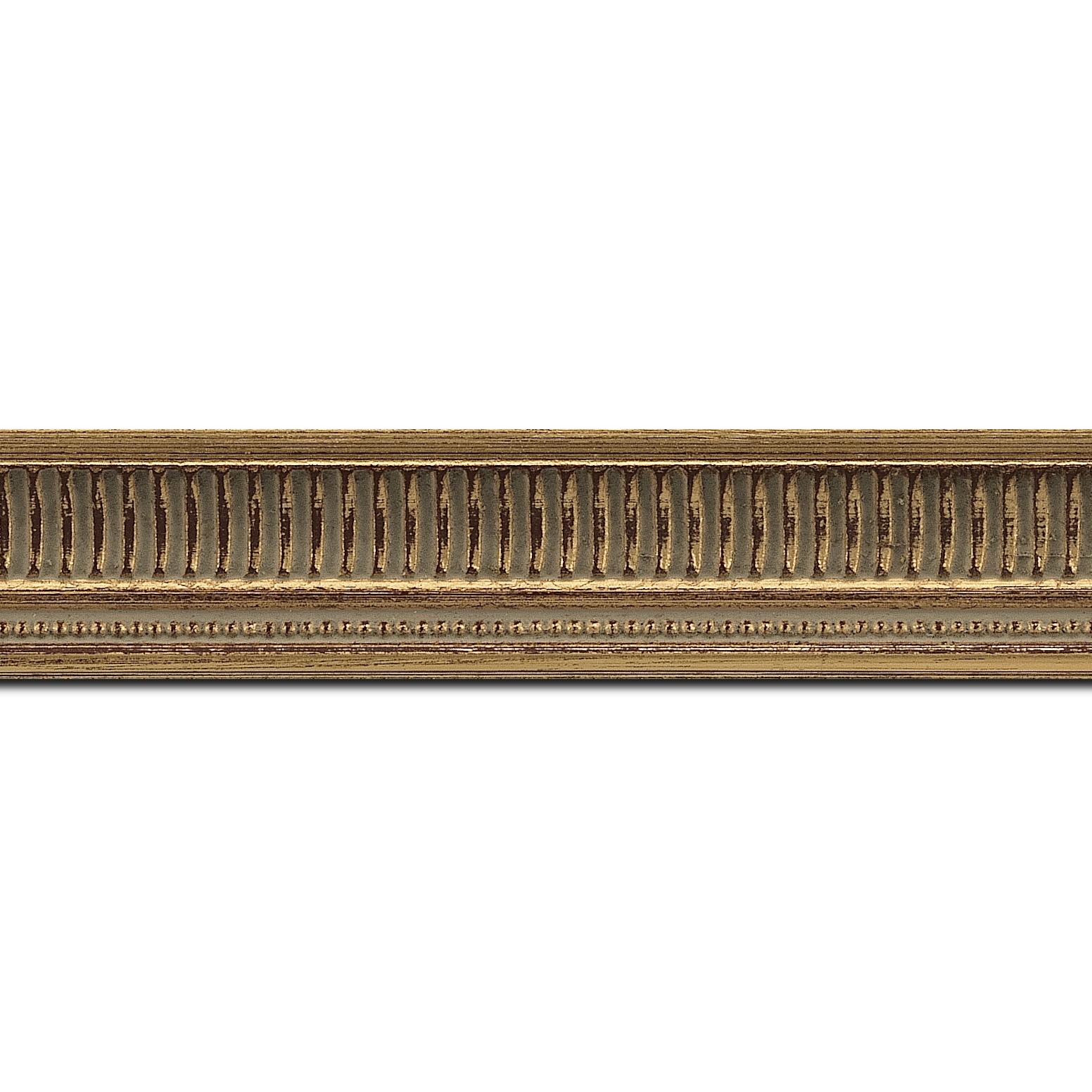 Baguette longueur 1.40m bois profil incurvé largeur 3.5cm or antique empire à canaux