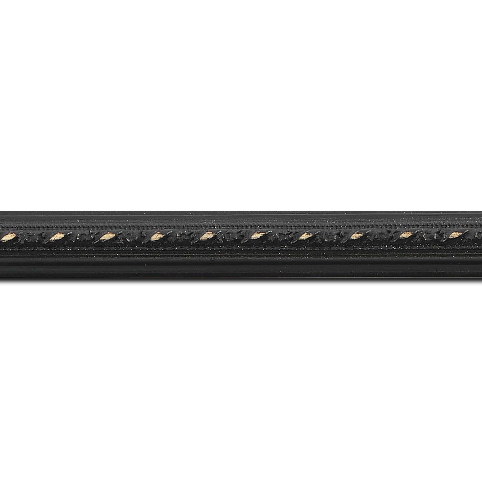 Pack par 12m, bois profil bombé largeur 2cm couleur noir antique style (longueur baguette pouvant varier entre 2.40m et 3m selon arrivage des bois)