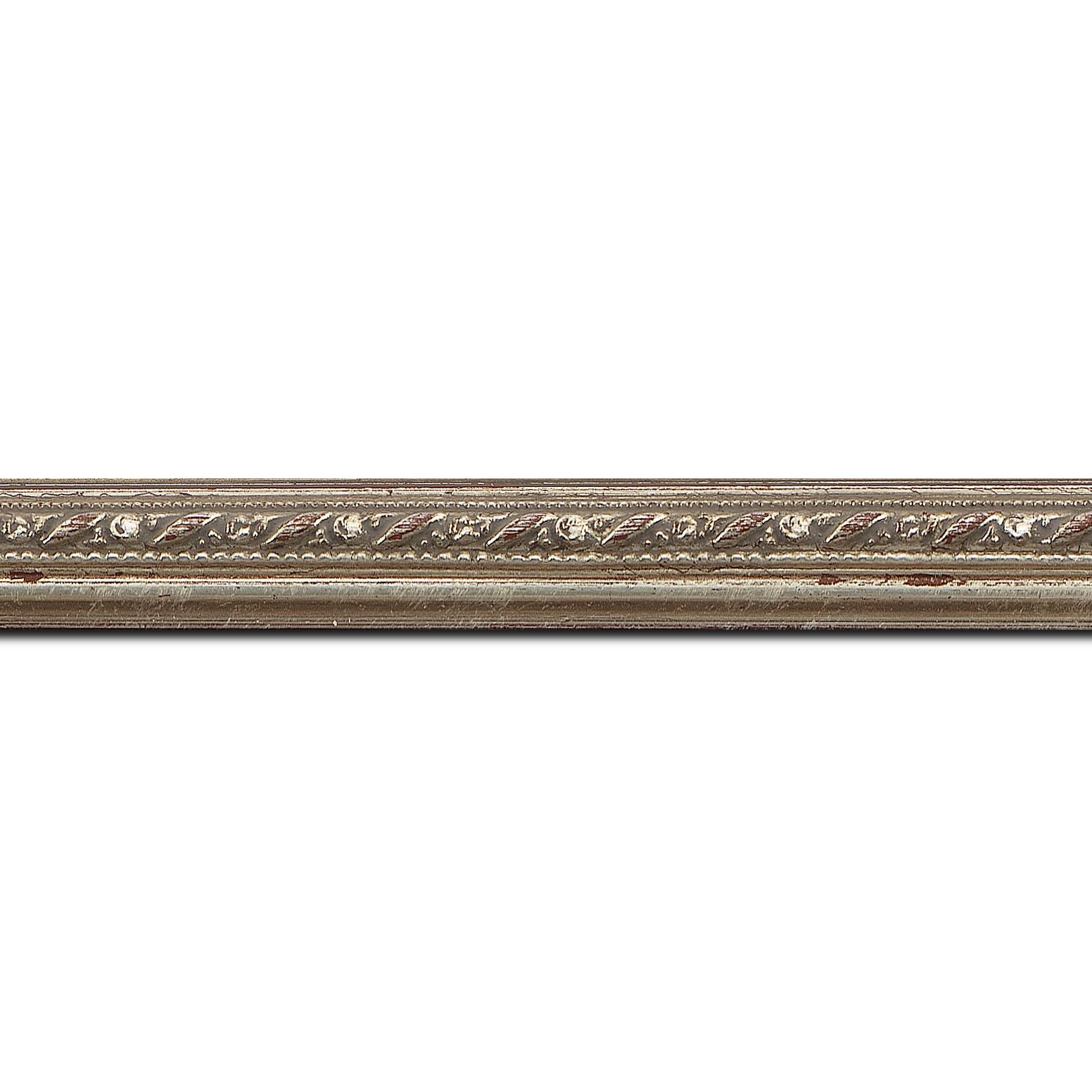 Pack par 12m, bois profil bombé largeur 2cm argent antique style (longueur baguette pouvant varier entre 2.40m et 3m selon arrivage des bois)