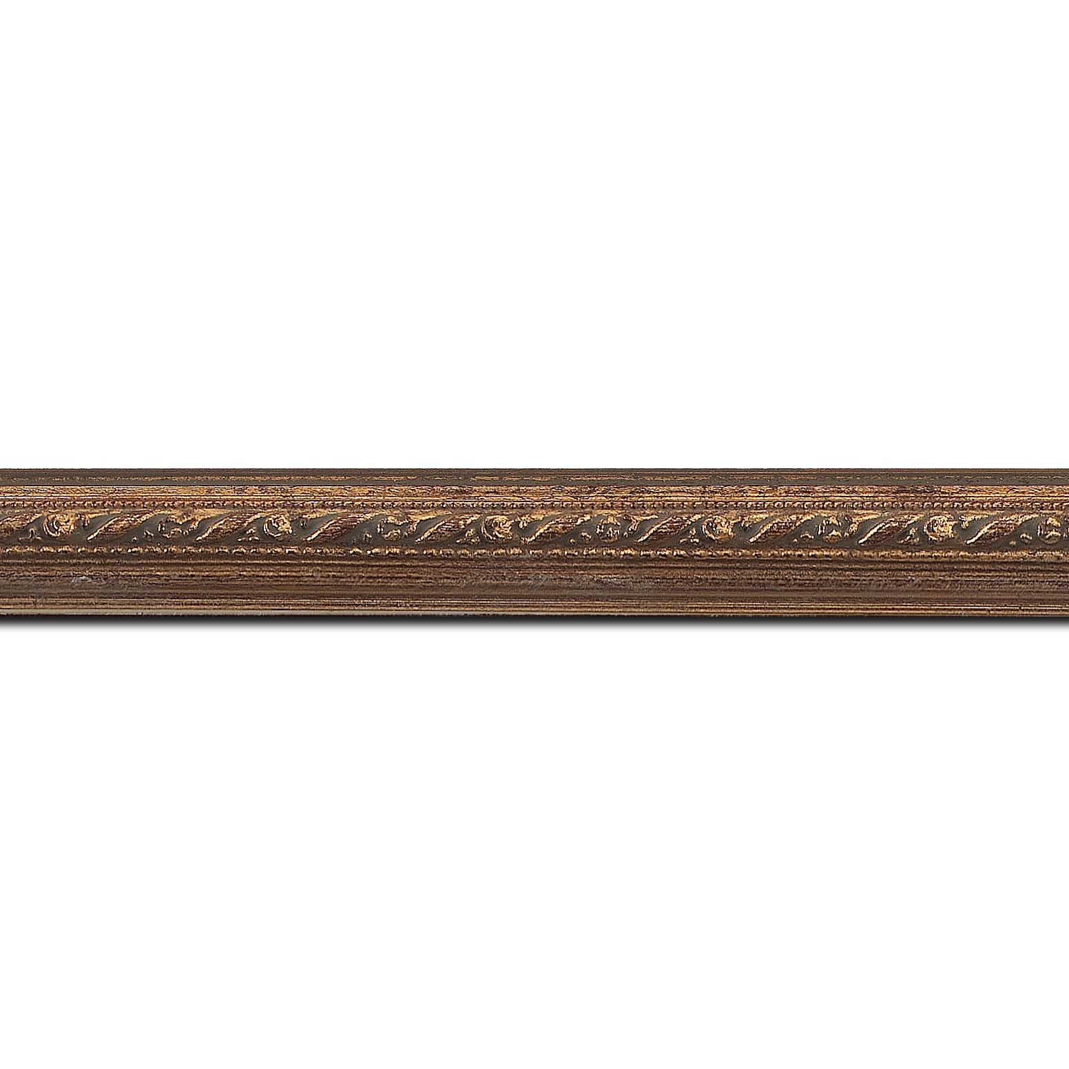 Pack par 12m, bois profil bombé largeur 2cm or antique style (longueur baguette pouvant varier entre 2.40m et 3m selon arrivage des bois)
