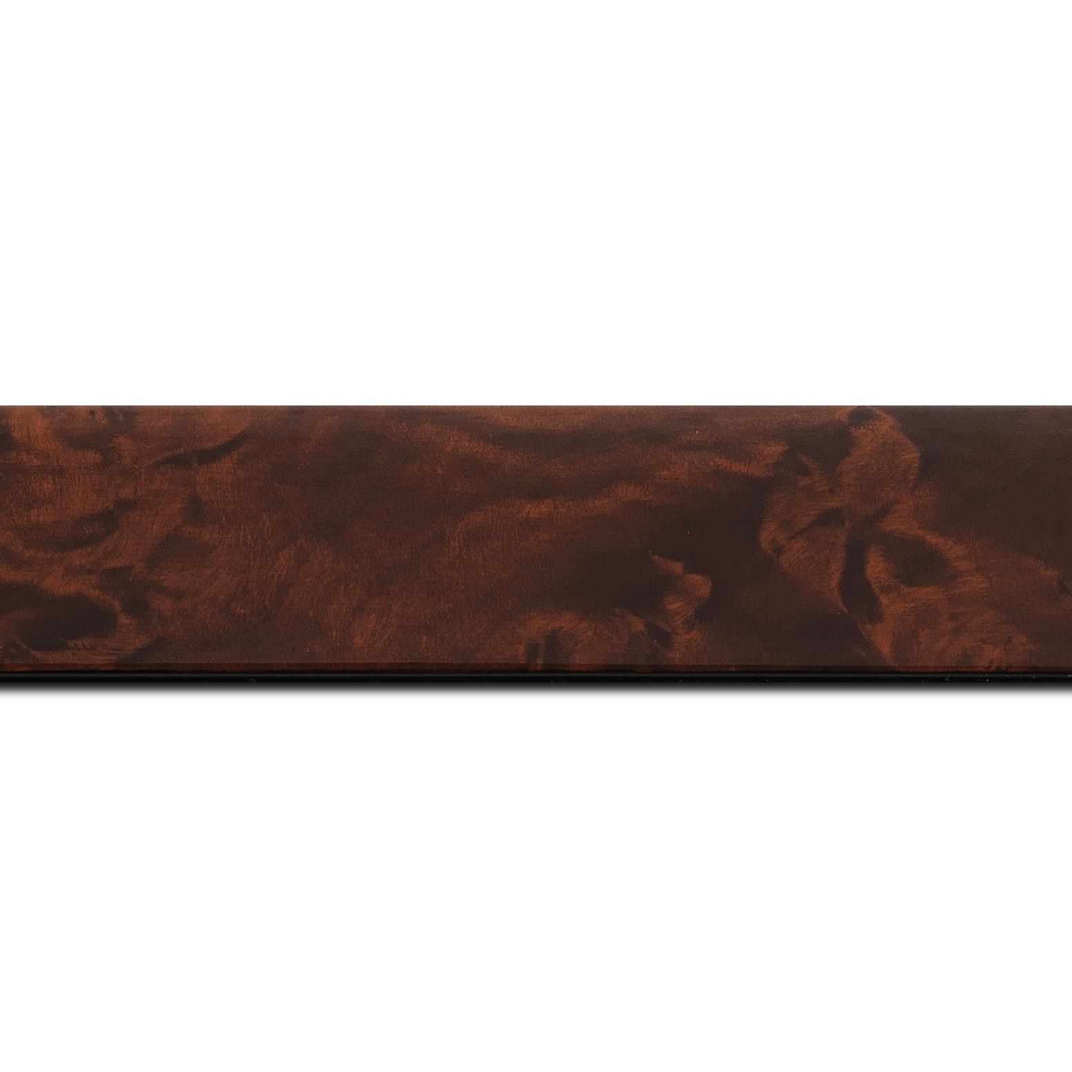 Pack par 12m, bois loupe véritable vernis largeur 4cm essence peuplier (longueur baguette pouvant varier entre 2.40m et 3m selon arrivage des bois)