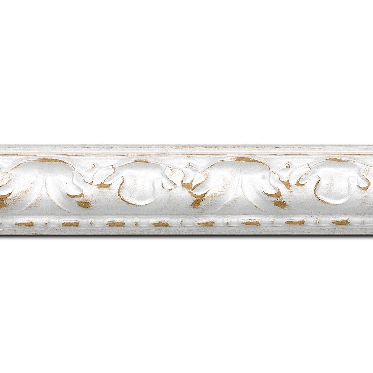 Pack par 12m, bois profil bombé largeur 4cm couleur blanchie satiné (longueur baguette pouvant varier entre 2.40m et 3m selon arrivage des bois)