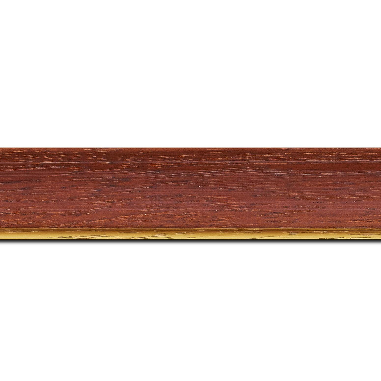 Pack par 12m, bois profil incurvé largeur 3.9cm couleur acajou satiné filet or (longueur baguette pouvant varier entre 2.40m et 3m selon arrivage des bois)