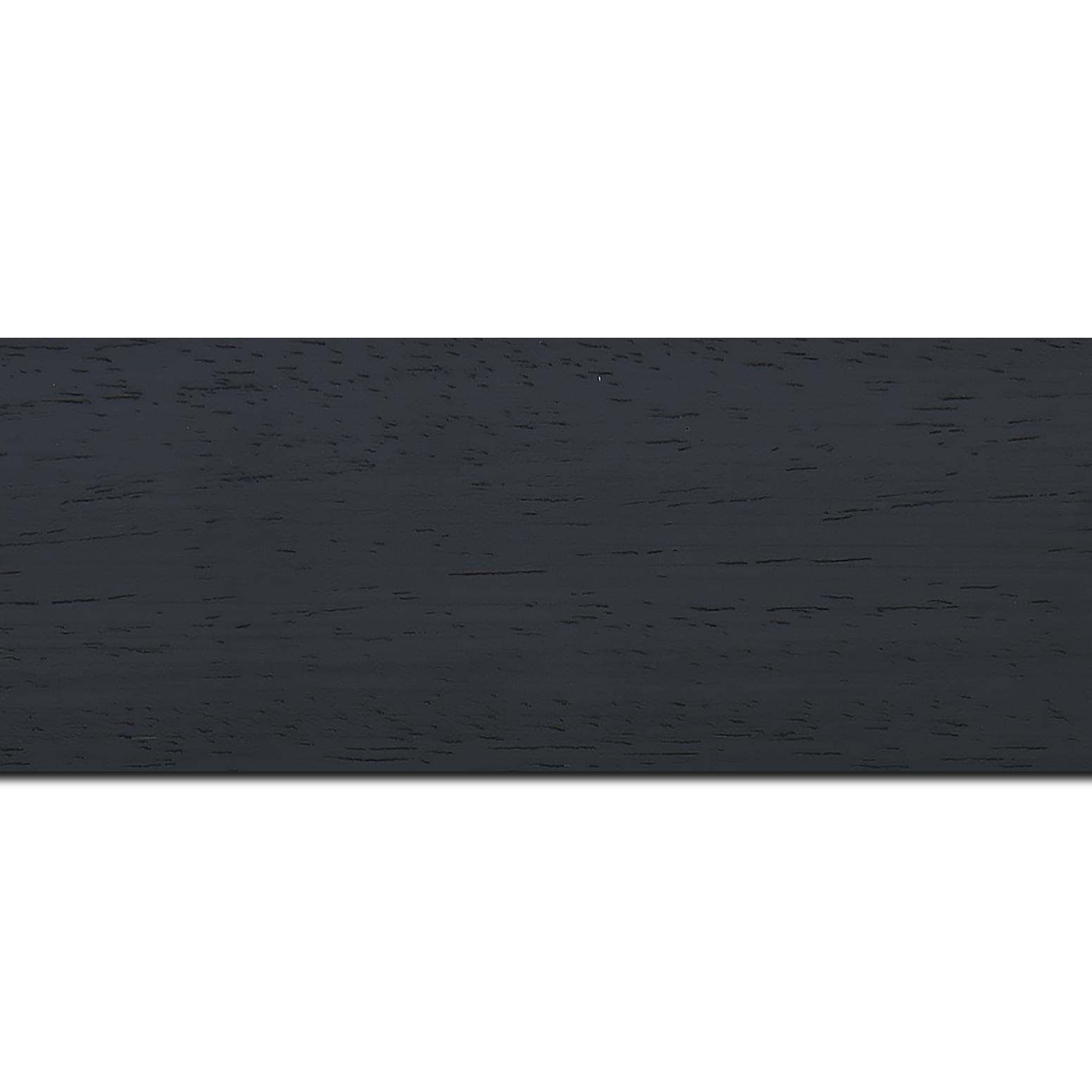 Pack par 12m, bois profil plat largeur 5.9cm couleur noir satiné (longueur baguette pouvant varier entre 2.40m et 3m selon arrivage des bois)