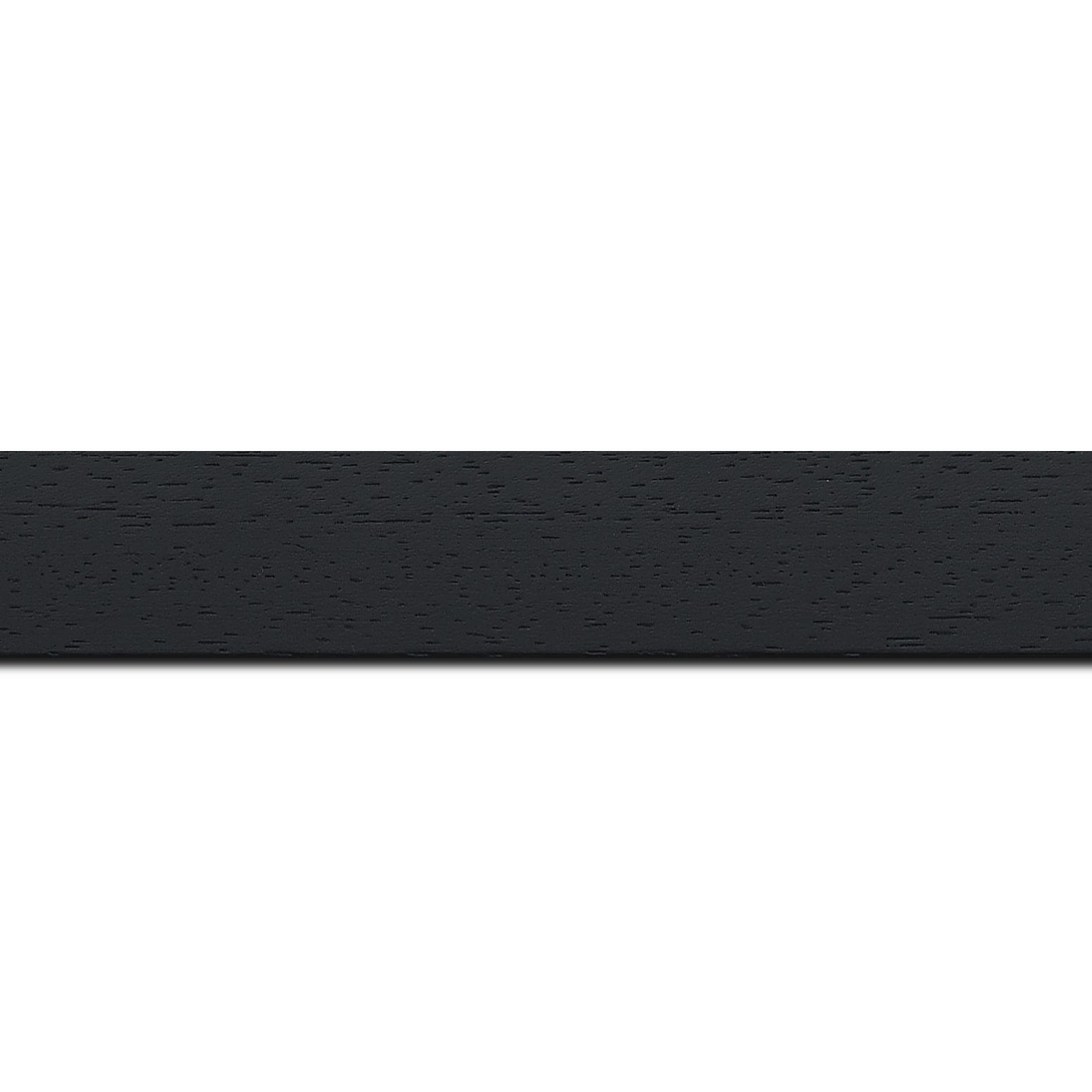 Pack par 12m, bois profil plat largeur 3cm couleur noir satiné (longueur baguette pouvant varier entre 2.40m et 3m selon arrivage des bois)