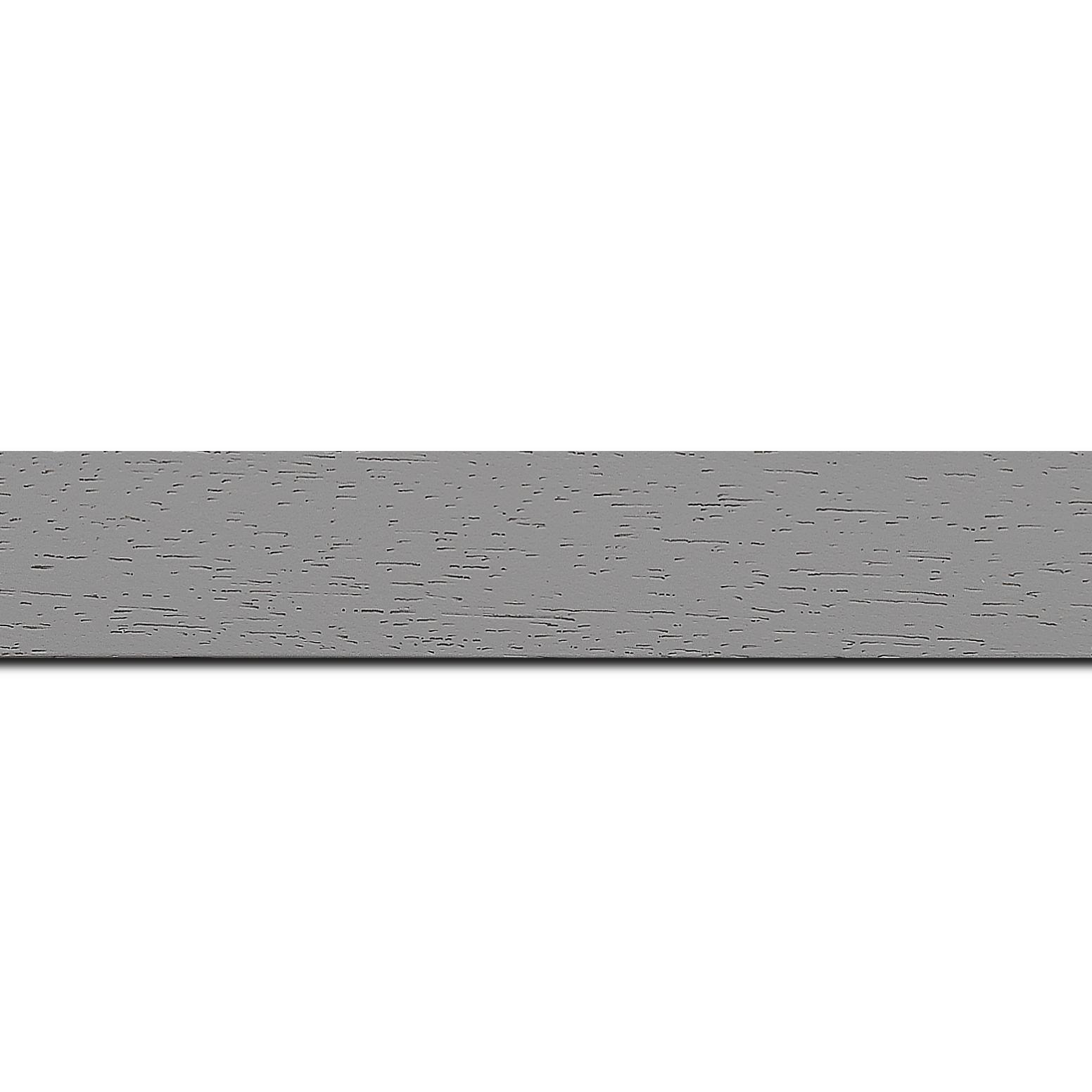 Pack par 12m, bois profil plat largeur 3cm couleur gris clair satiné (longueur baguette pouvant varier entre 2.40m et 3m selon arrivage des bois)