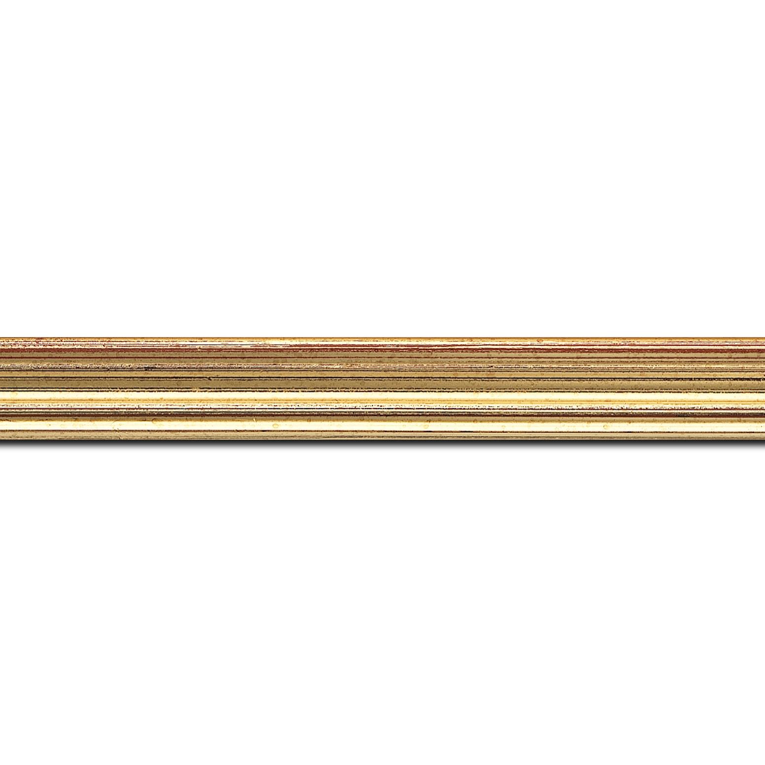 Pack par 12m, bois profil incurvé largeur 2.1cm or patiné à la feuille (longueur baguette pouvant varier entre 2.40m et 3m selon arrivage des bois)