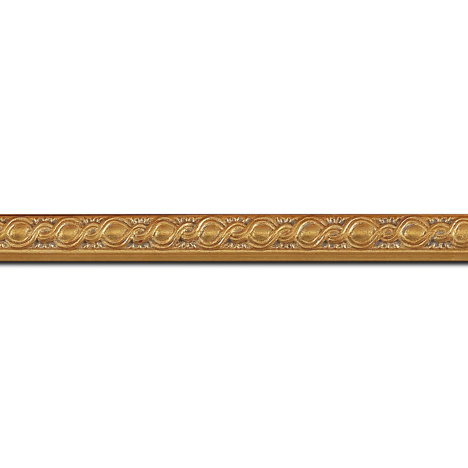 Pack par 12m, bois profil jonc largeur 1.5cm or style décor entrelacé (longueur baguette pouvant varier entre 2.40m et 3m selon arrivage des bois)