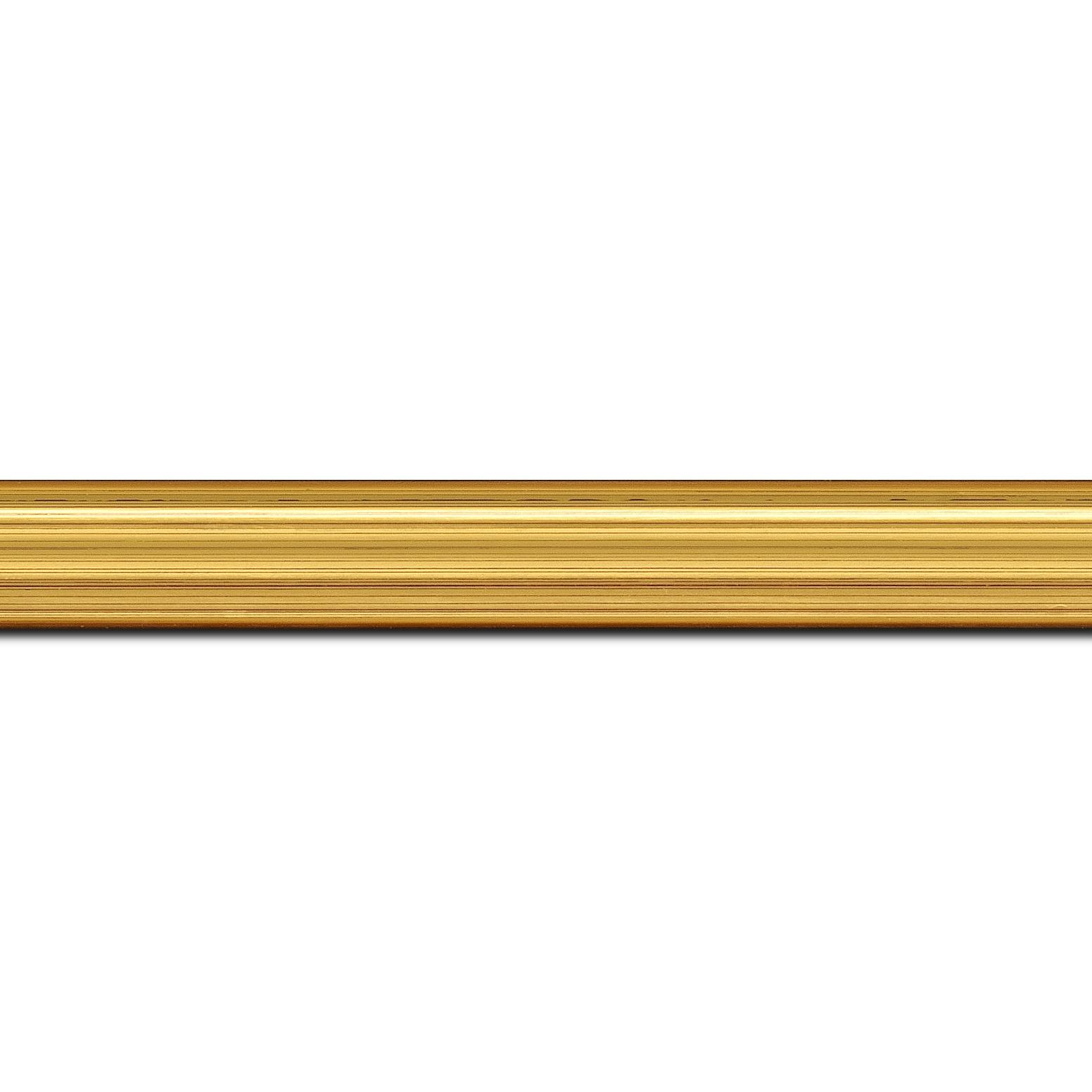 Pack par 12m, bois profil incuvé largeur 2.1cm or satiné (longueur baguette pouvant varier entre 2.40m et 3m selon arrivage des bois)
