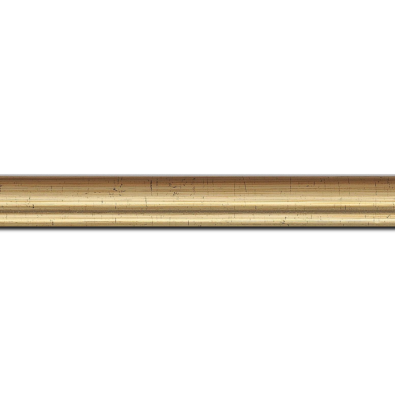 Pack par 12m, bois profil bombé largeur 2cm couleur or (longueur baguette pouvant varier entre 2.40m et 3m selon arrivage des bois)
