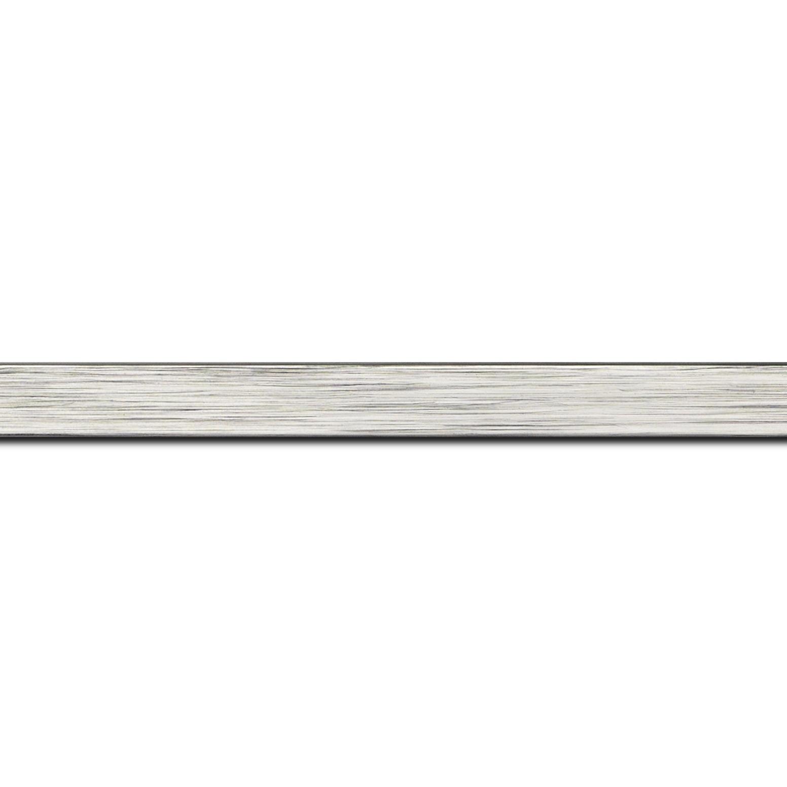 Baguette longueur 1.40m bois profil plat largeur 1.5cm couleur argent