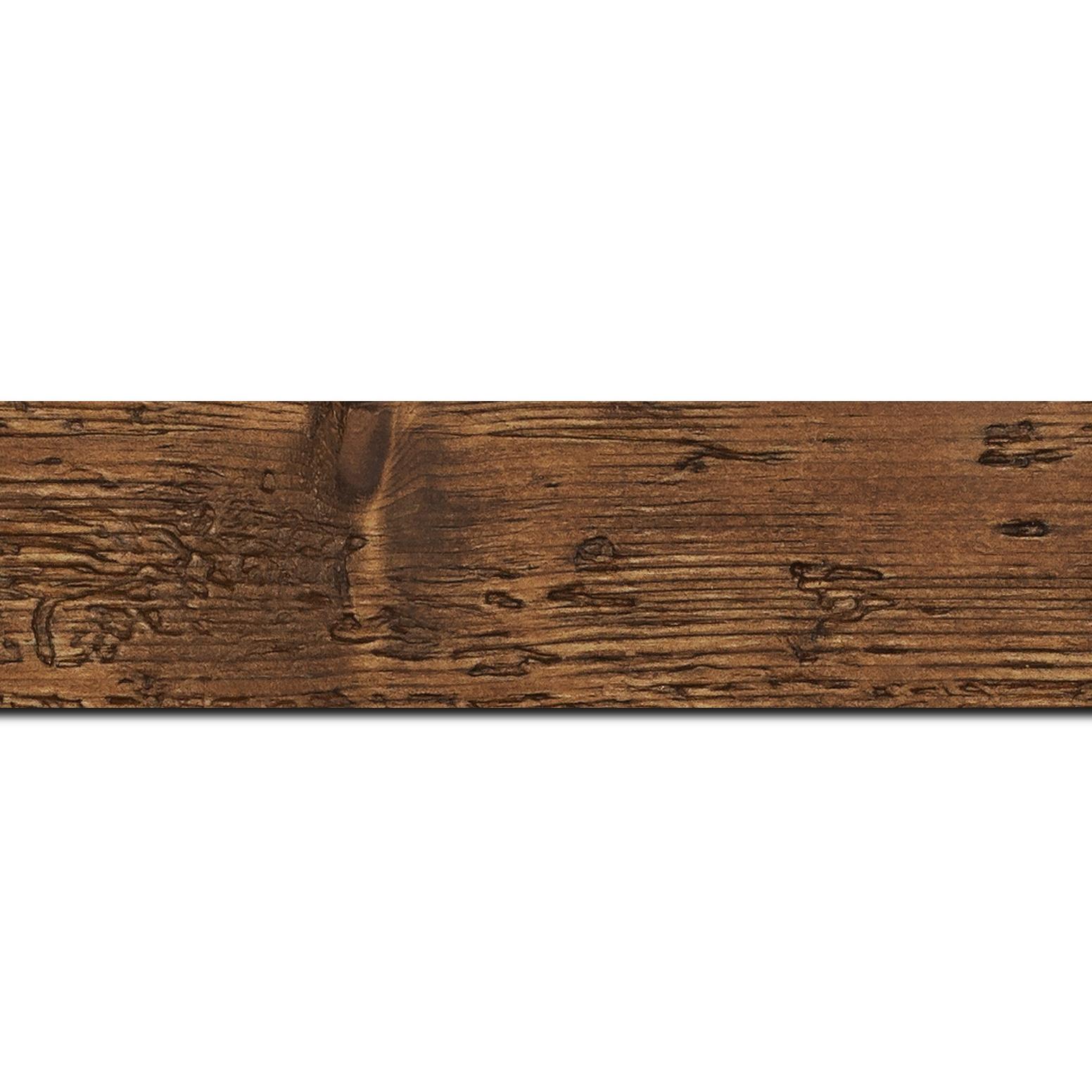 Pack par 12m, bois profil plat largeur 4.3cm couleur marron foncé finition aspect vieilli antique (longueur baguette pouvant varier entre 2.40m et 3m selon arrivage des bois)