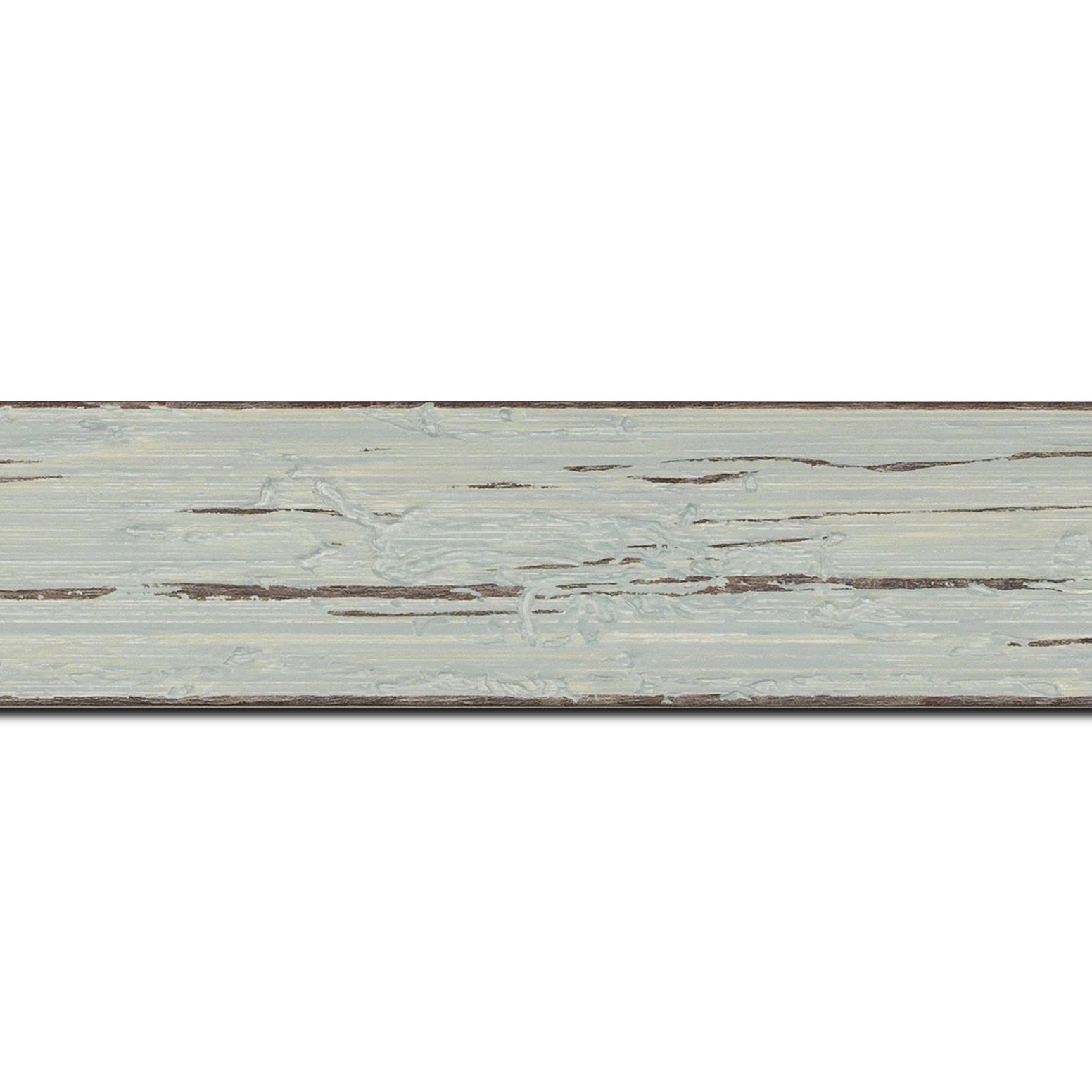 Pack par 12m, bois profil plat largeur 4.3cm couleur bleu délavé finition aspect vieilli antique (longueur baguette pouvant varier entre 2.40m et 3m selon arrivage des bois)