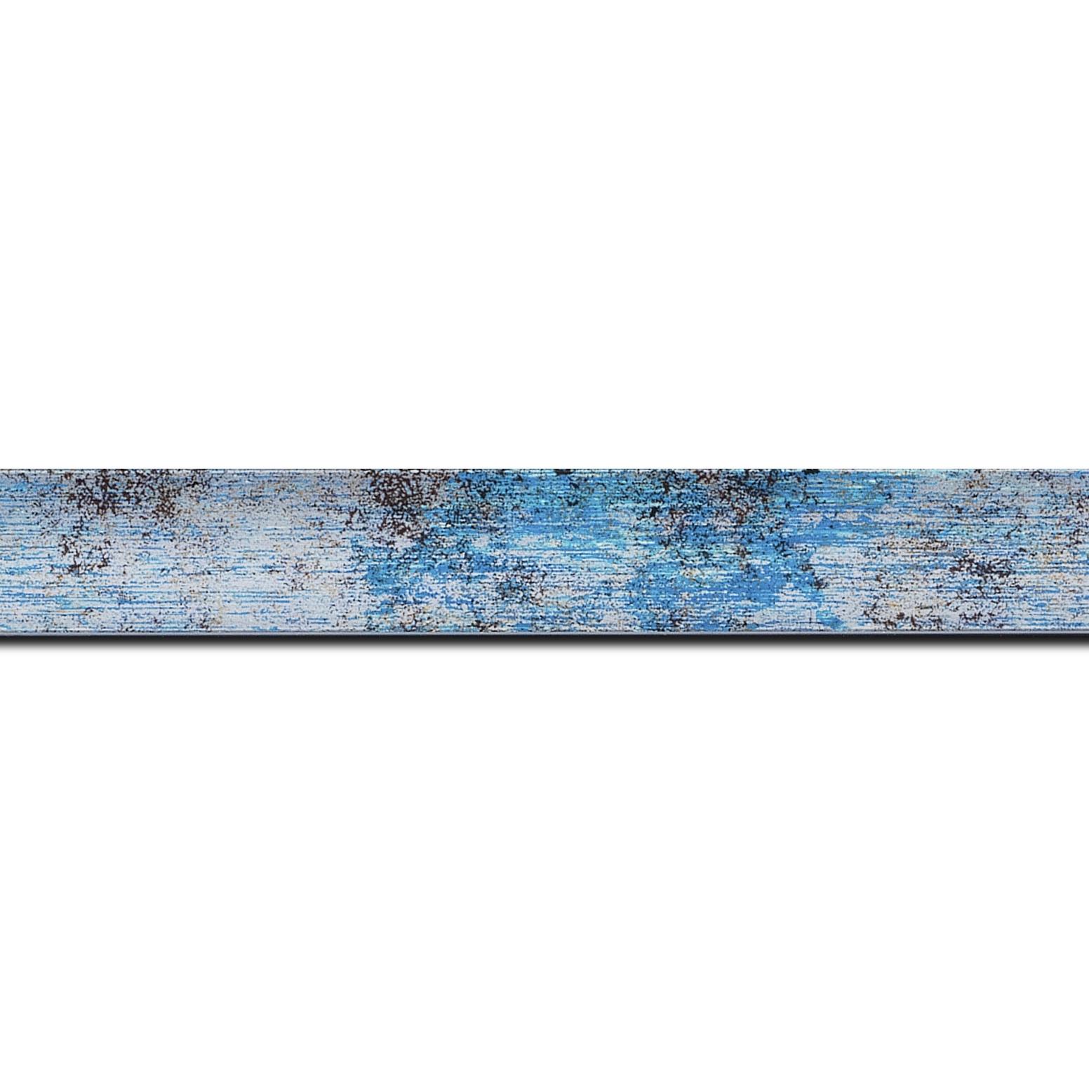 Baguette longueur 1.40m bois profil concave largeur 2.4cm de couleur bleu moucheté fond argent