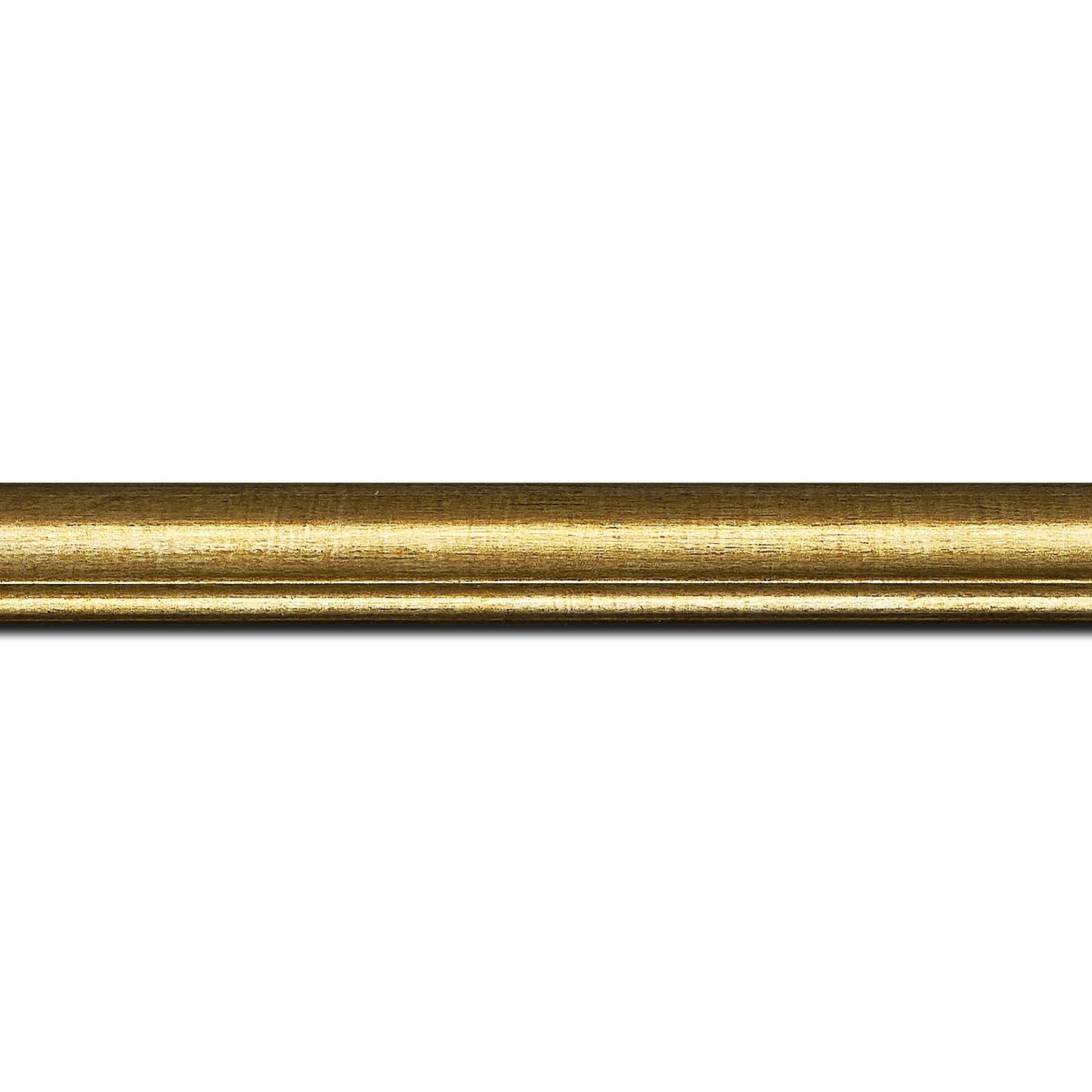 Pack par 12m, bois profil arrondi largeur 2.1cm couleur or filet or (longueur baguette pouvant varier entre 2.40m et 3m selon arrivage des bois)