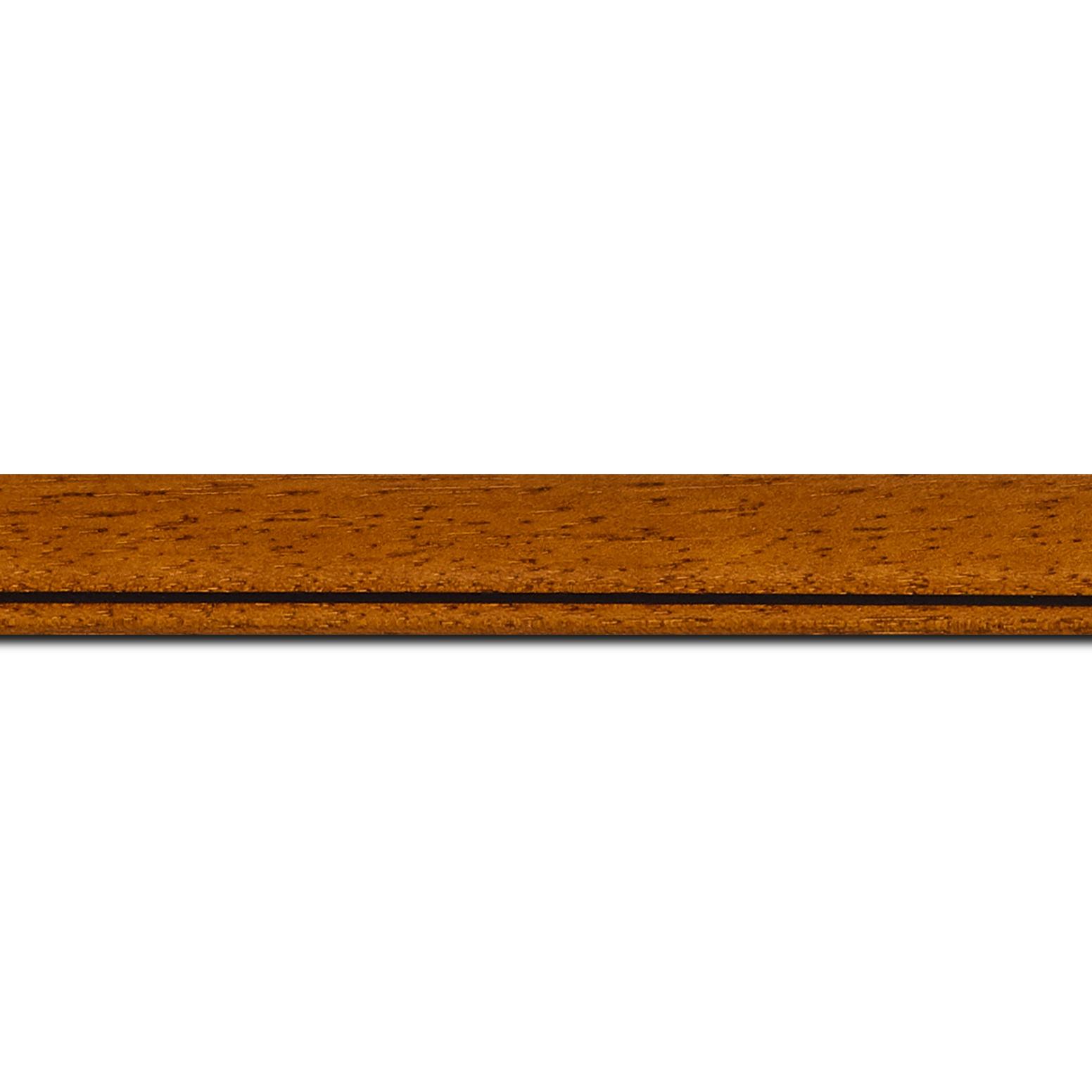 Baguette longueur 1.40m bois profil bombé largeur 2.4cm couleur marron ton bois satiné filet noir
