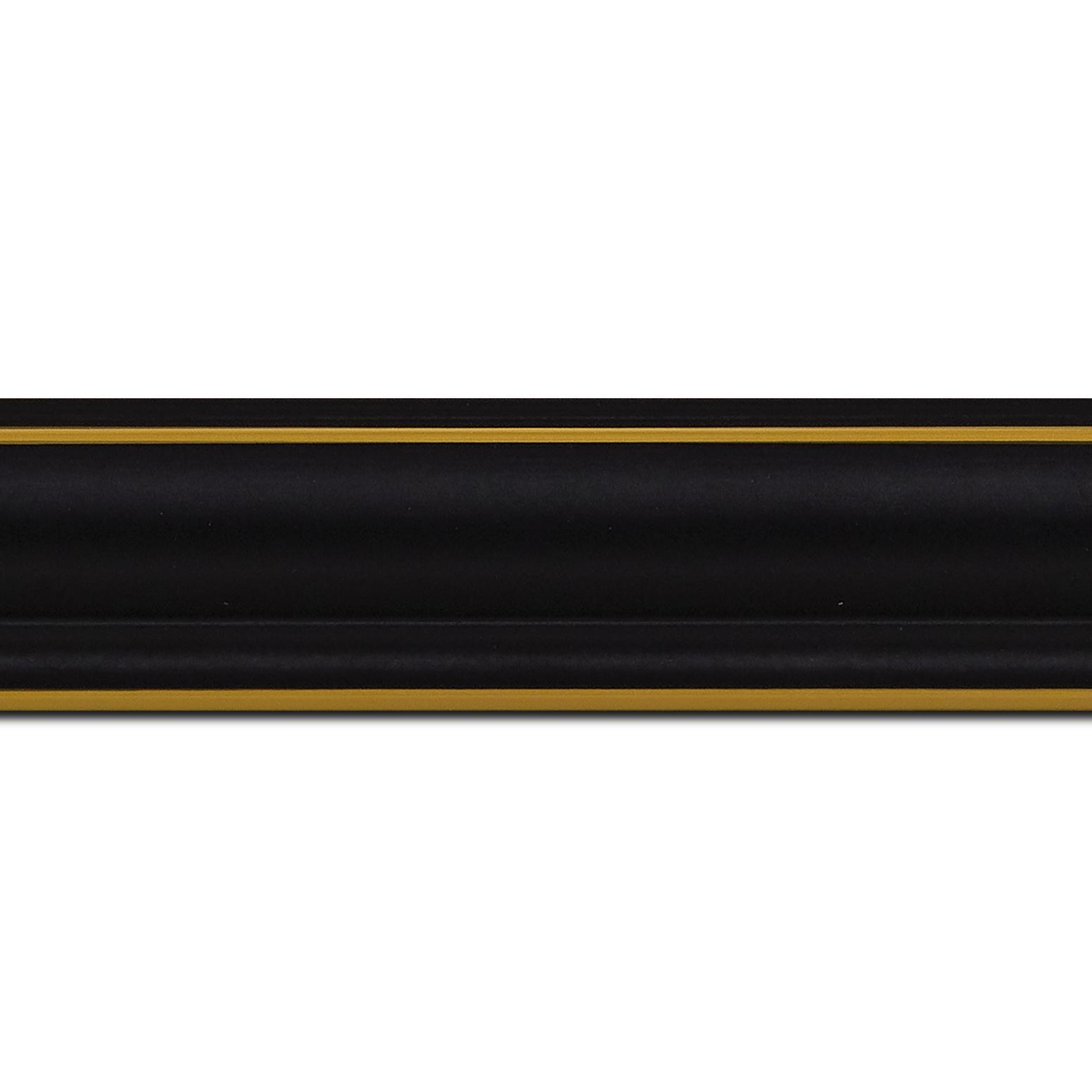 Pack par 12m, bois profil doucine inversée largeur 4.4cm  couleur noire satiné filet or (longueur baguette pouvant varier entre 2.40m et 3m selon arrivage des bois)