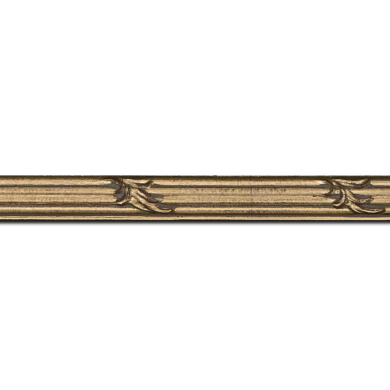 Pack par 12m, bois profil jonc largeur 1.5cm or style décor feuille (longueur baguette pouvant varier entre 2.40m et 3m selon arrivage des bois)