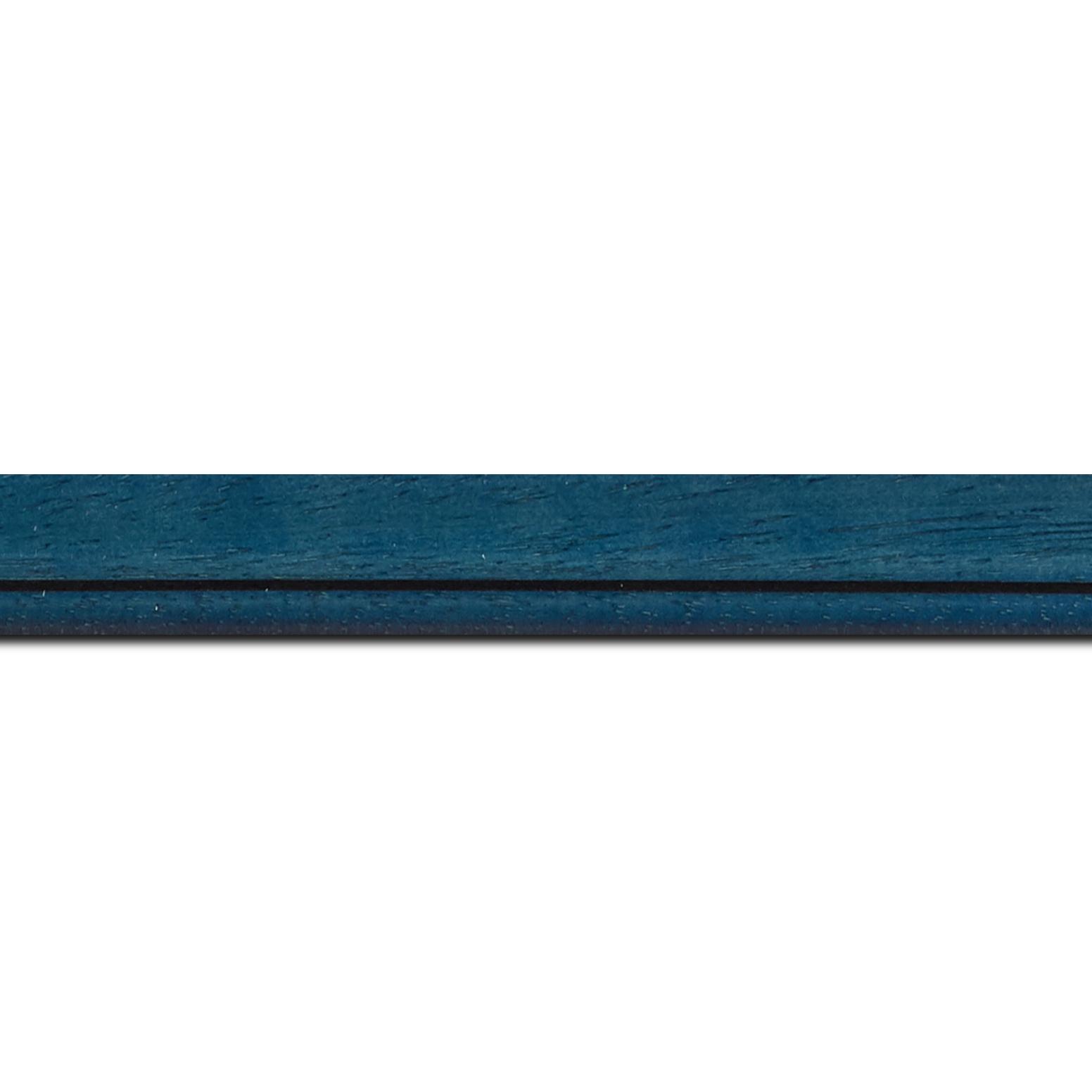 Pack par 12m, bois profil bombé largeur 2.4cm couleur bleu cobalt satiné filet noir(longueur baguette pouvant varier entre 2.40m et 3m selon arrivage des bois)