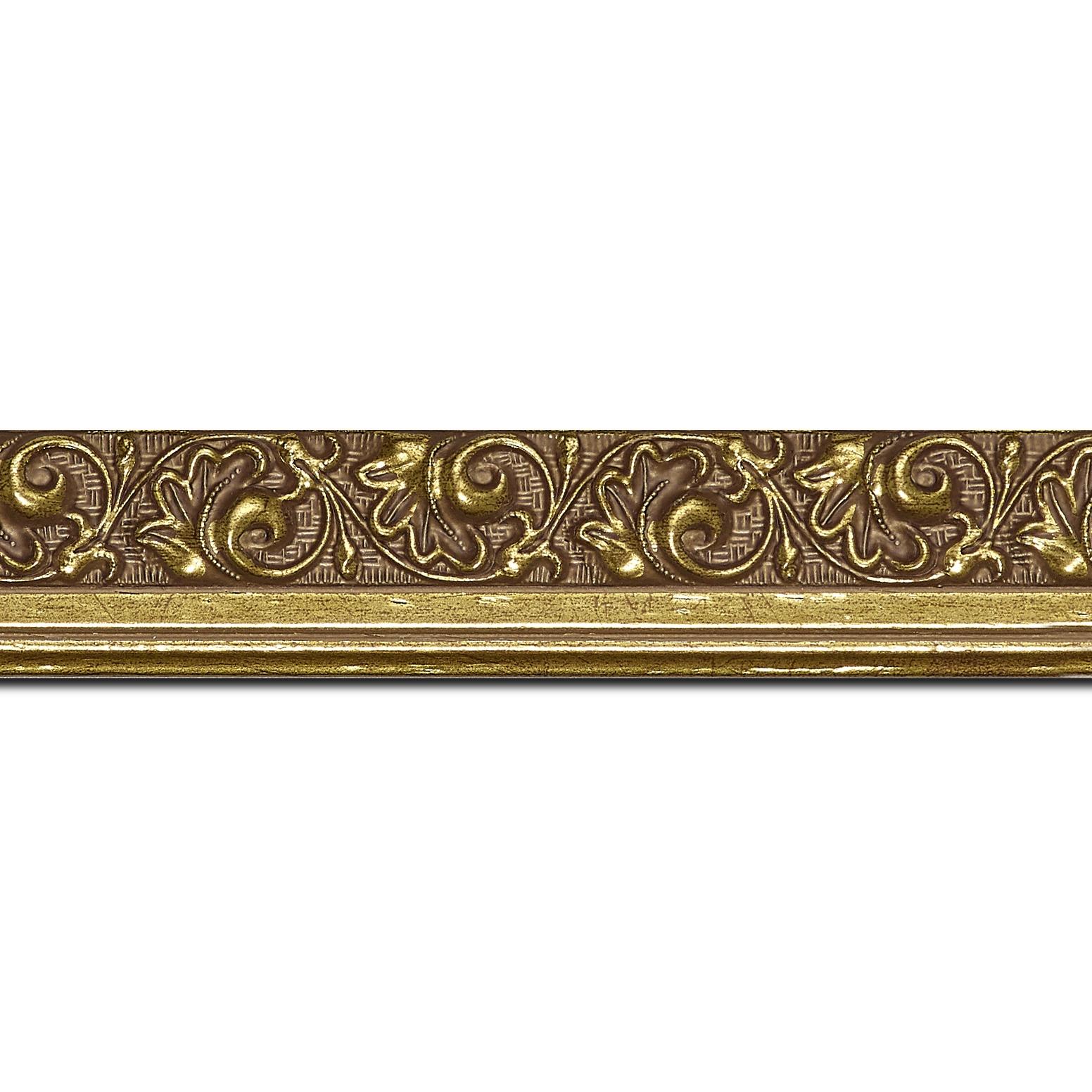 Pack par 12m, bois profil plat largeur 3.5cm or antique satiné décor frise (longueur baguette pouvant varier entre 2.40m et 3m selon arrivage des bois)