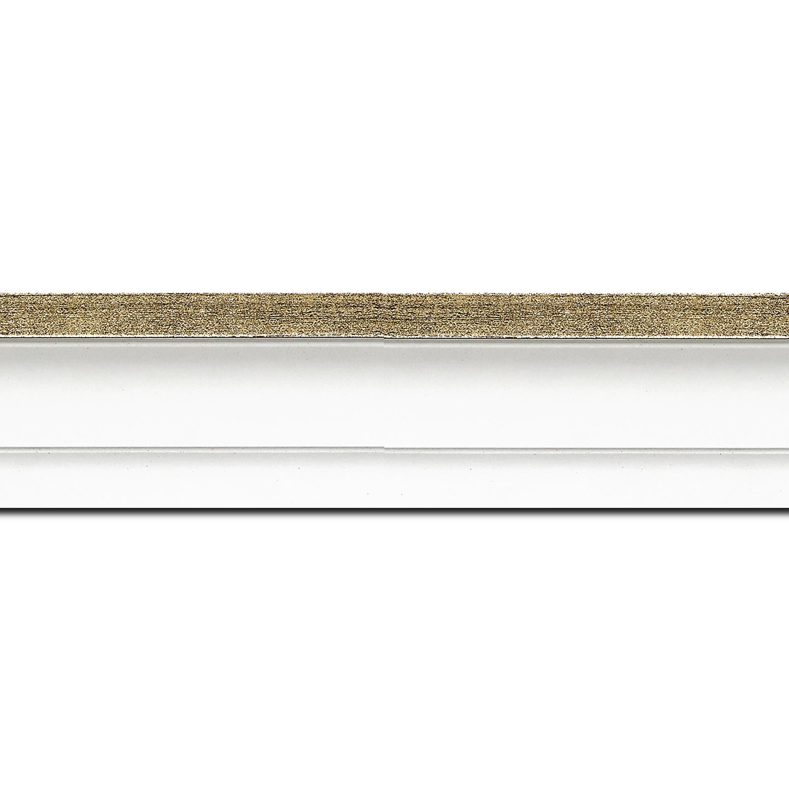 Pack par 12m, bois caisse américaine profil escalier largeur 4.5cm blanc mat filet or (spécialement conçu pour les châssis d'une épaisseur jusqu'à 2.5cm )(longueur baguette pouvant varier entre 2.40m et 3m selon arrivage des bois)