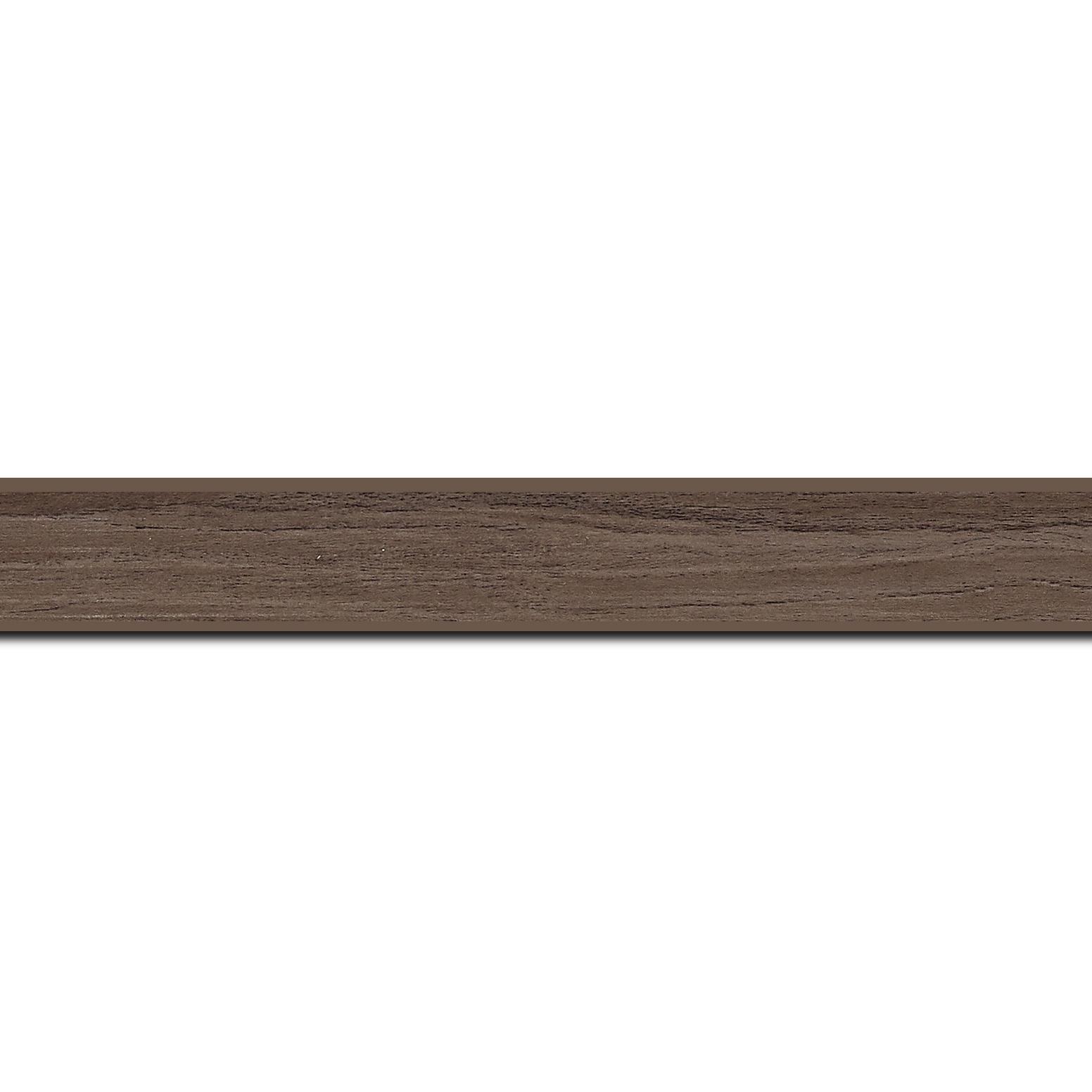 Pack par 12m, bois profil plat largeur 2cm décor bois noyer (longueur baguette pouvant varier entre 2.40m et 3m selon arrivage des bois)