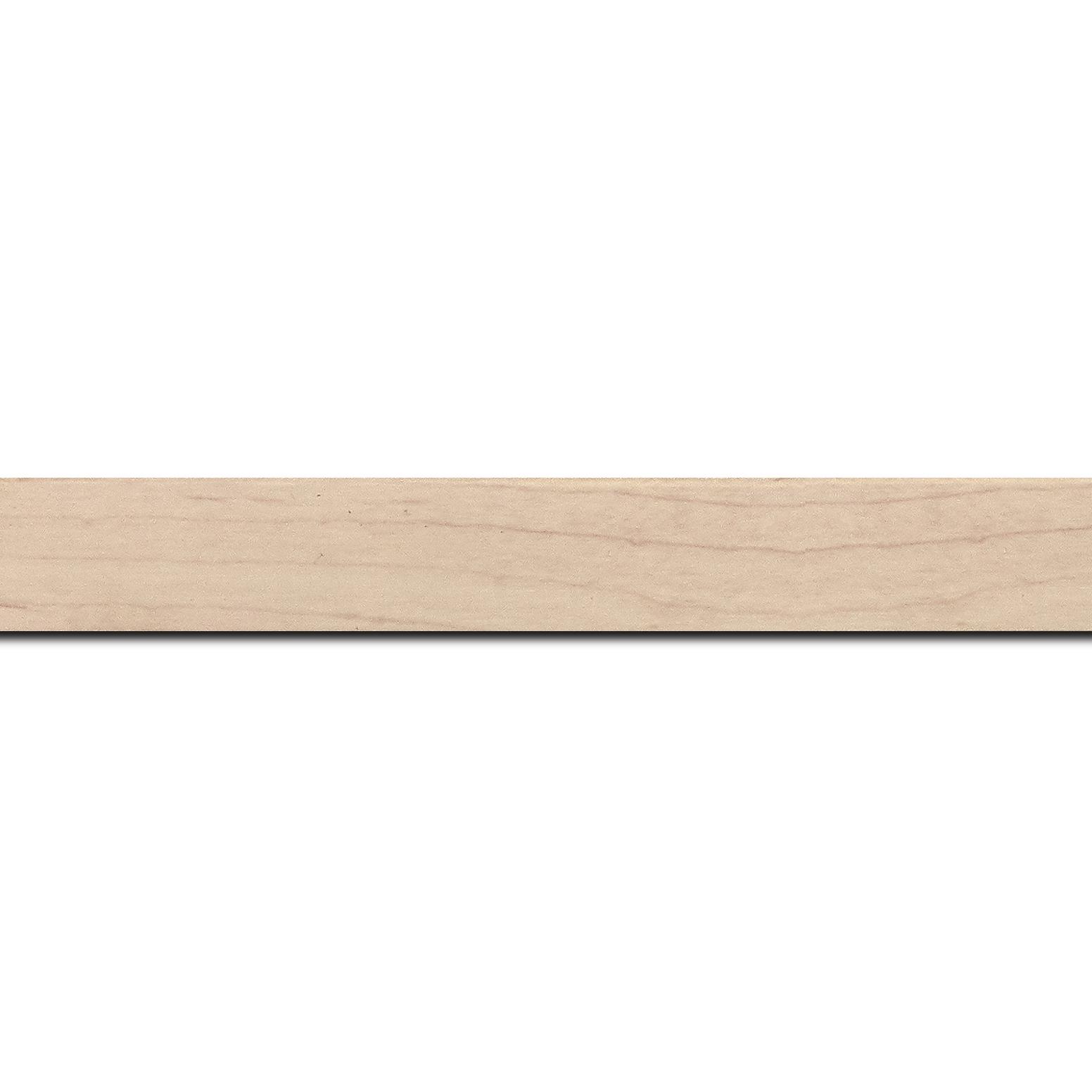 Pack par 12m, bois profil plat largeur 2cm décor bois blanc naturel(longueur baguette pouvant varier entre 2.40m et 3m selon arrivage des bois)