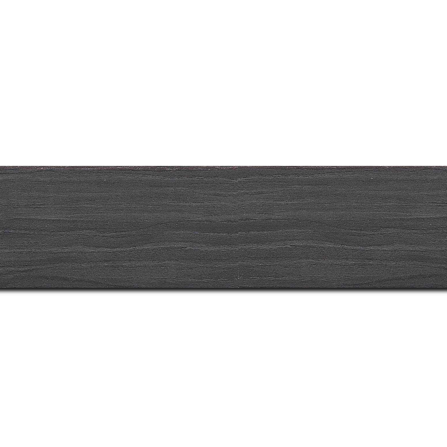 Pack par 12m, bois profil plat largeur 4.2cm décor bois noir ébène(longueur baguette pouvant varier entre 2.40m et 3m selon arrivage des bois)