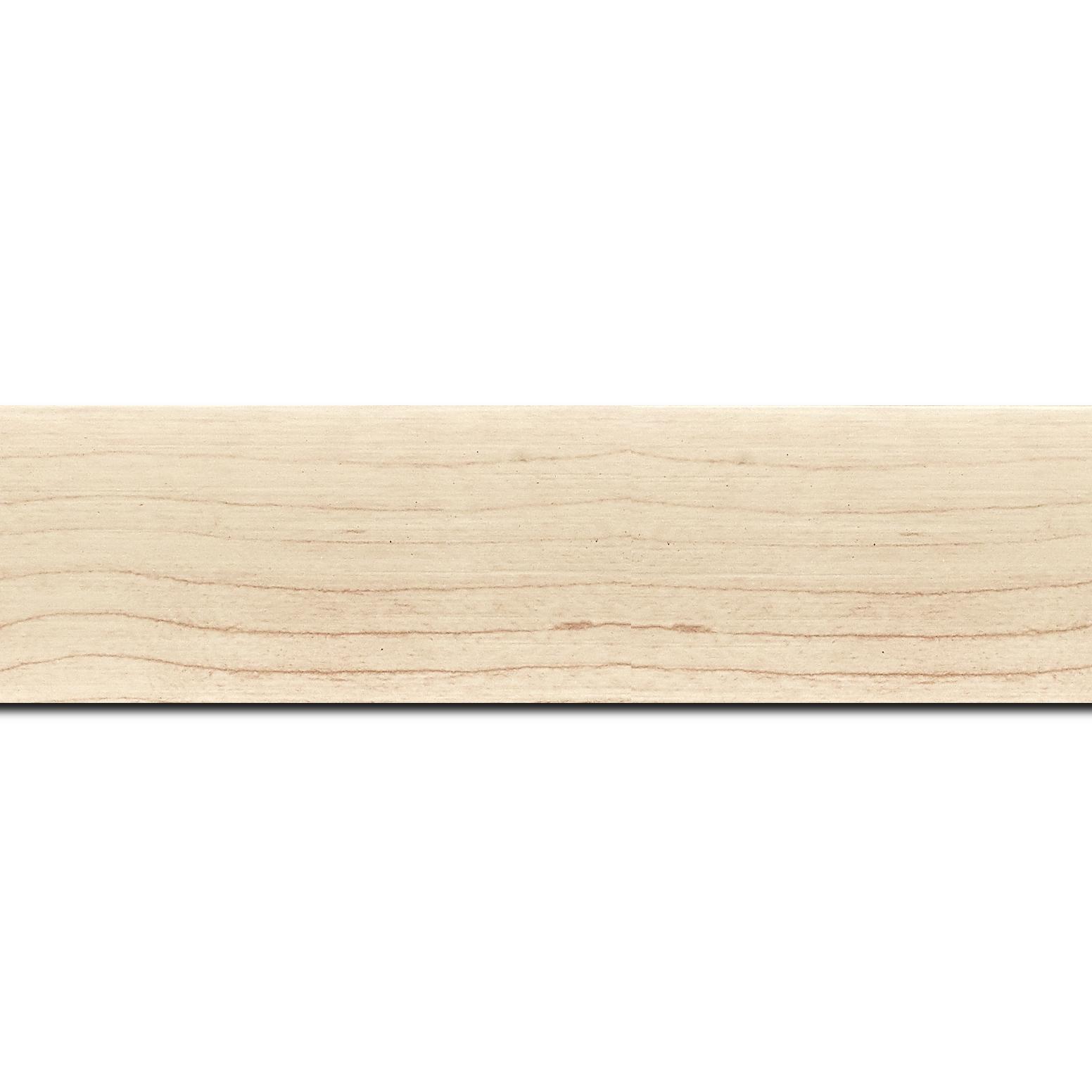 Pack par 12m, bois profil plat largeur 4.2cm décor bois blanc naturel(longueur baguette pouvant varier entre 2.40m et 3m selon arrivage des bois)
