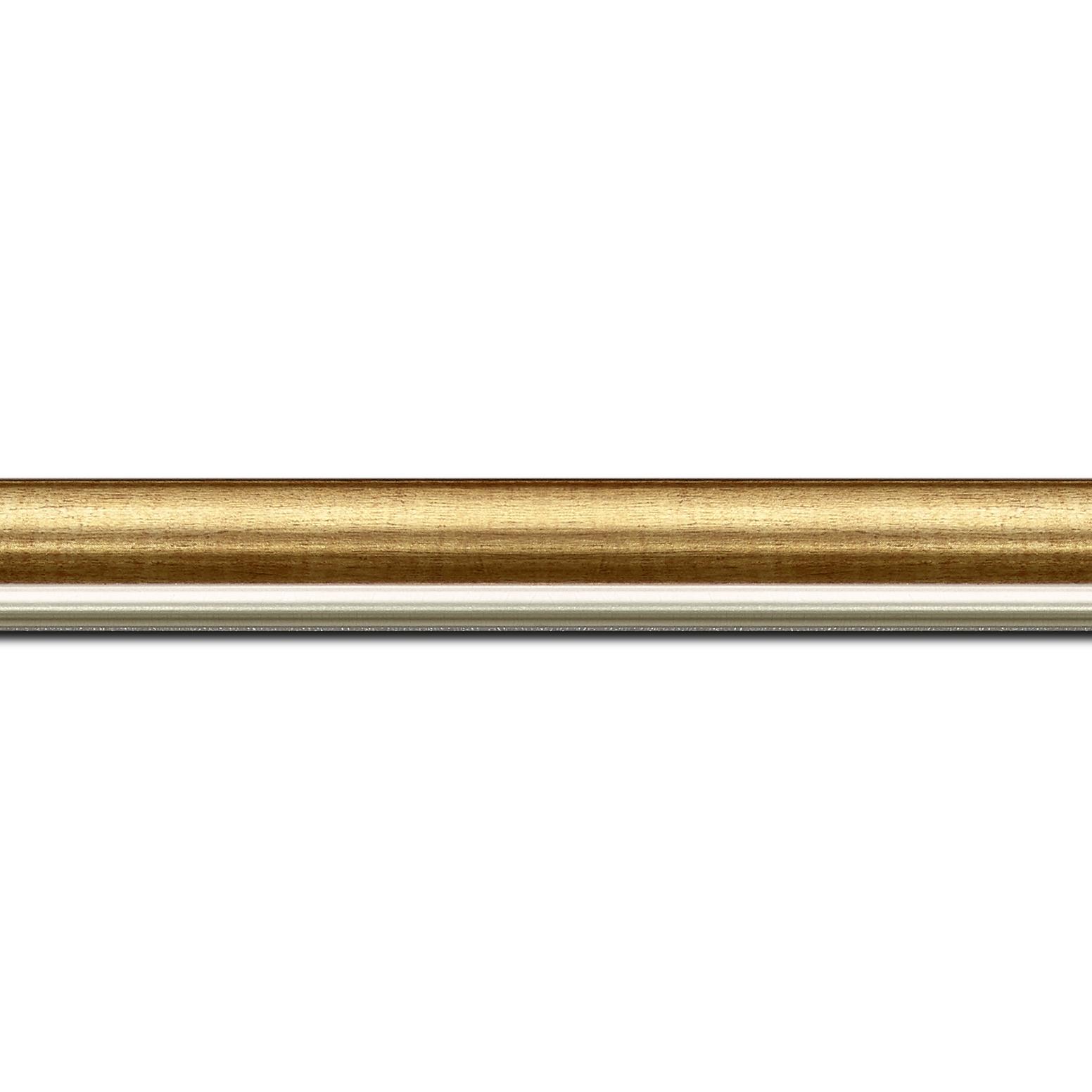 Pack par 12m, bois profil arrondi largeur 2.1cm  couleur or filet argent chaud  (longueur baguette pouvant varier entre 2.40m et 3m selon arrivage des bois)