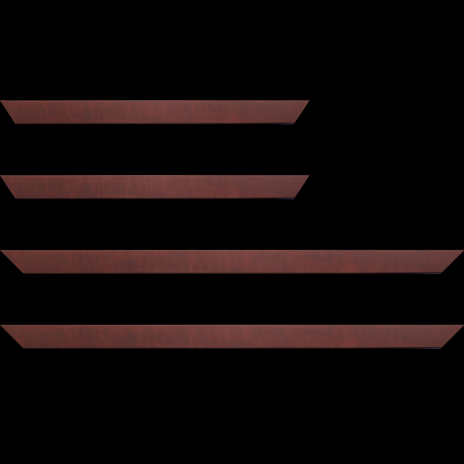 Baguette service précoupé bois profil plat largeur 2.5cm couleur bordeaux satiné