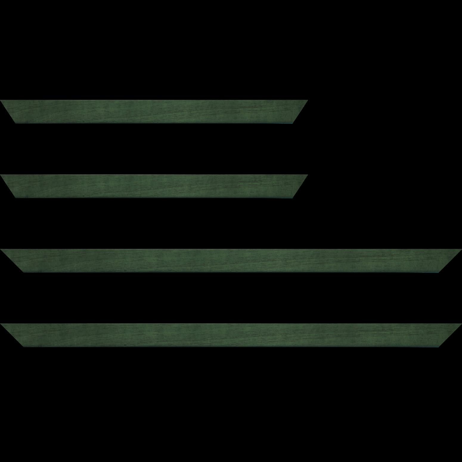 Baguette service précoupé bois profil plat largeur 2.5cm couleur vert sapin satiné