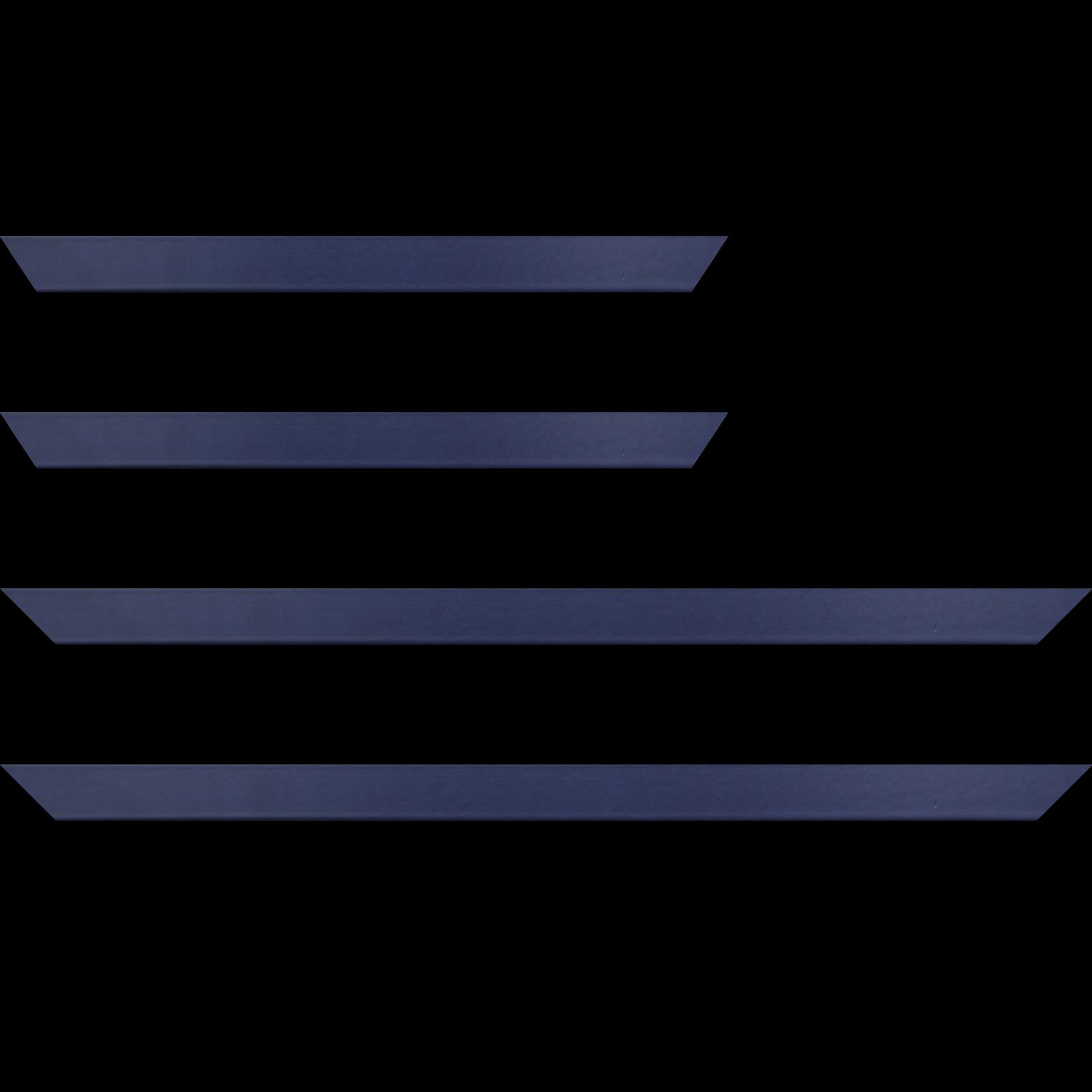 Baguette service précoupé bois profil plat largeur 2.5cm couleur bleu matisse satiné