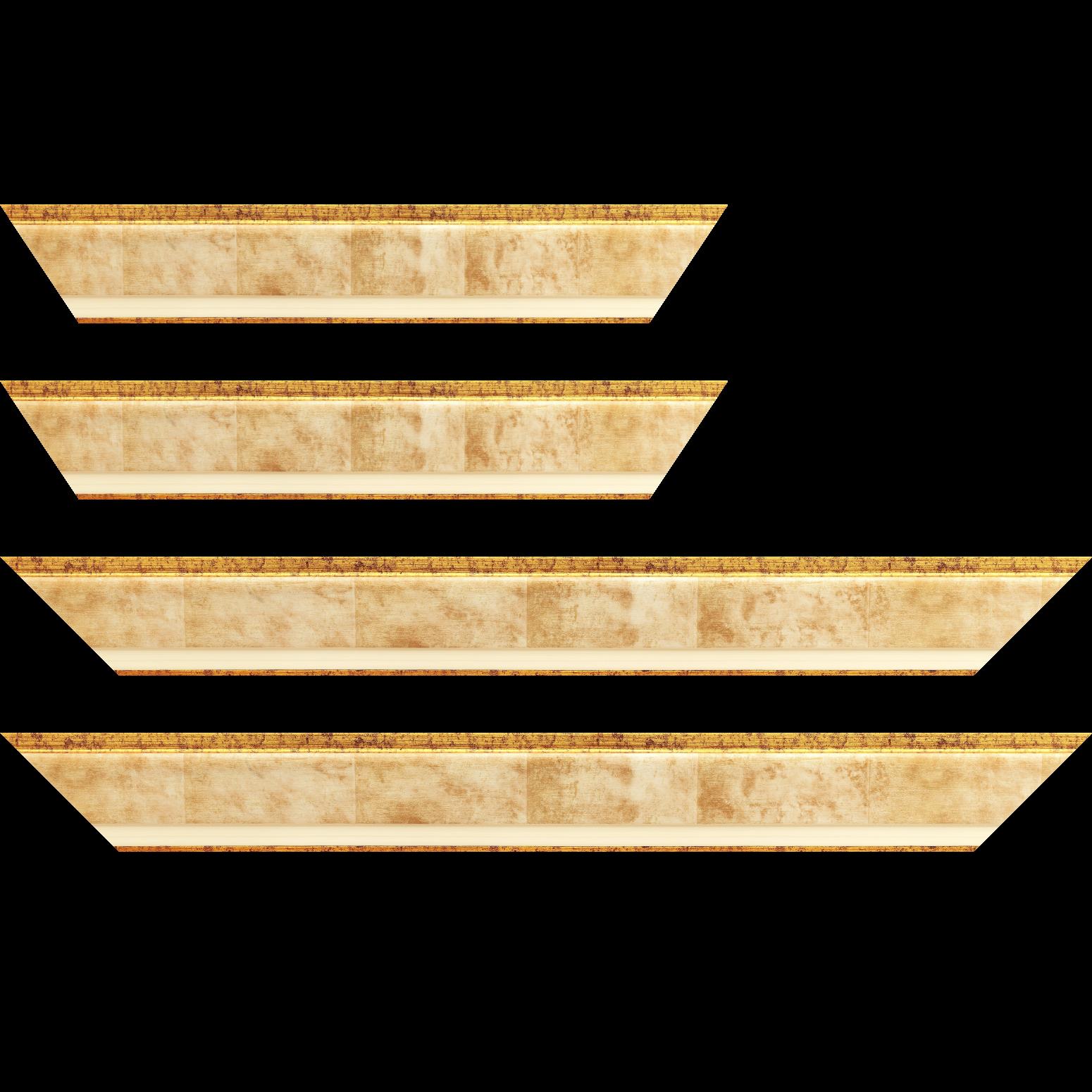 Baguette service précoupé bois profil incliné largeur 5.4cm couleur crème marie louise crème filet or intégrée