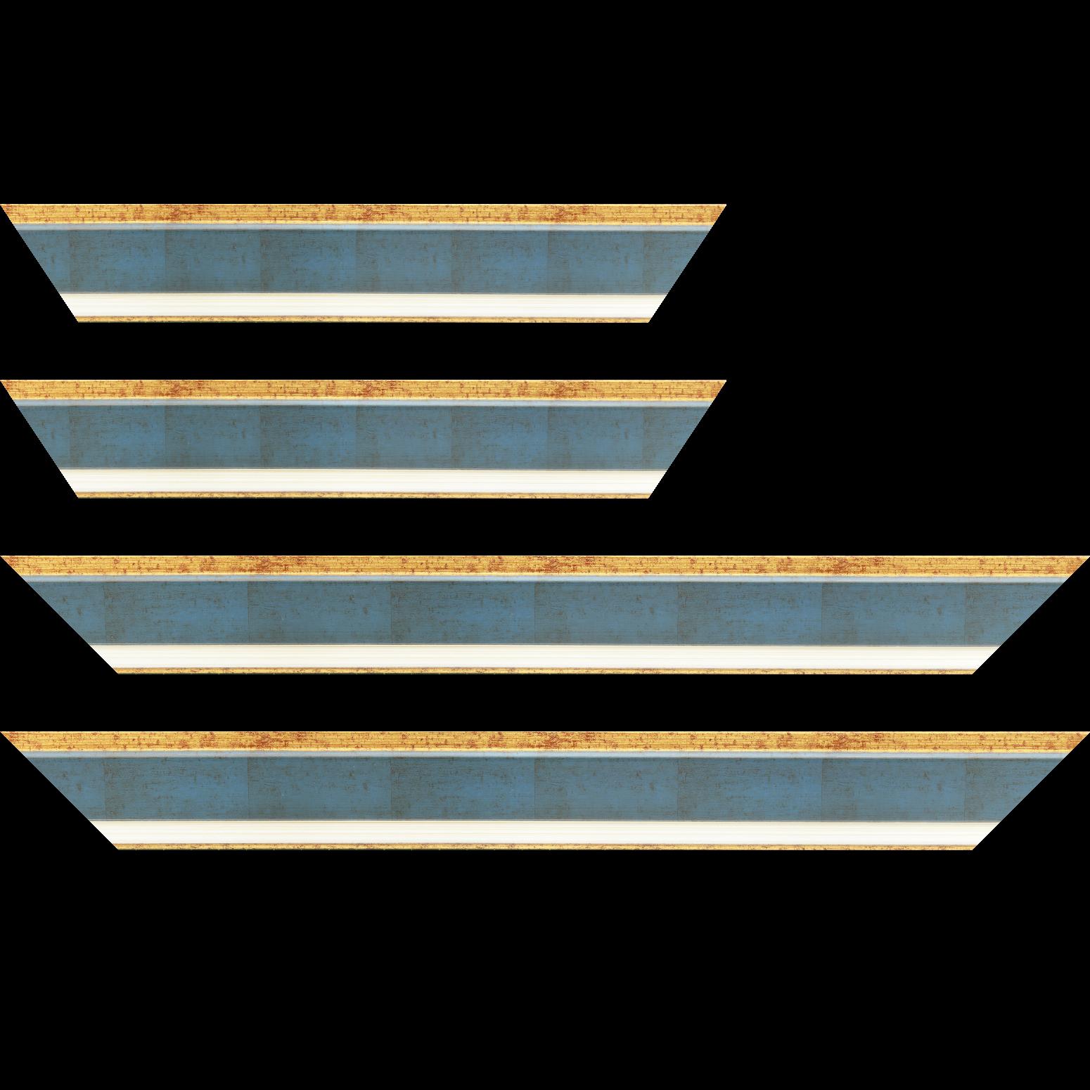 Baguette service précoupé bois profil incliné largeur 5.4cm couleur bleu cobalt marie louise crème filet or intégrée