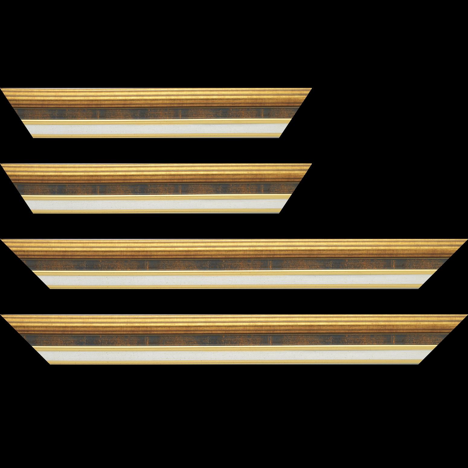 Baguette service précoupé Bois largeur 5.2cm or gorge bleu fond or marie louise crème filet or intégrée