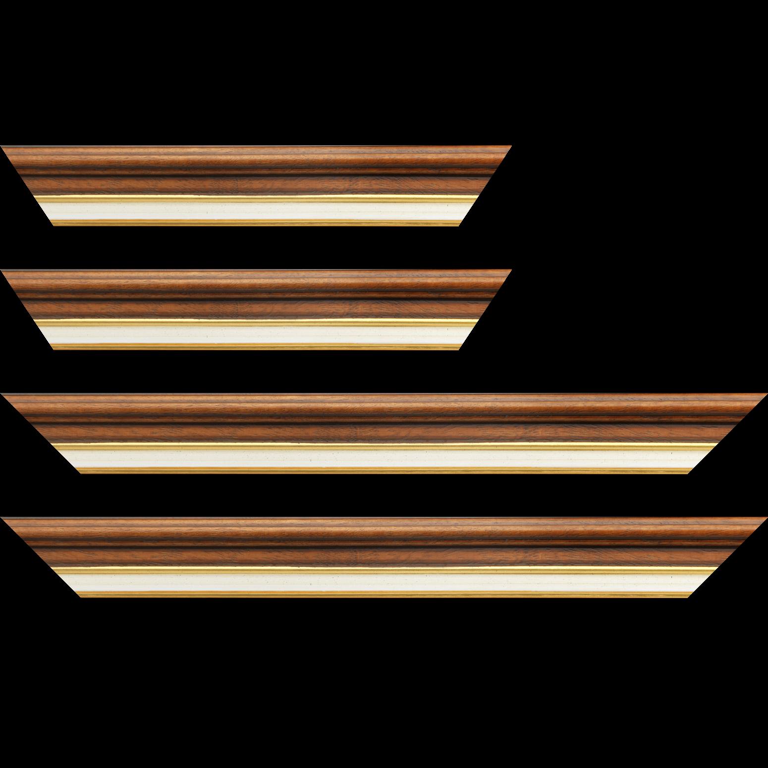 Baguette service précoupé Bois largeur 5.2cm marron rustique  marie louise crème filet or intégrée