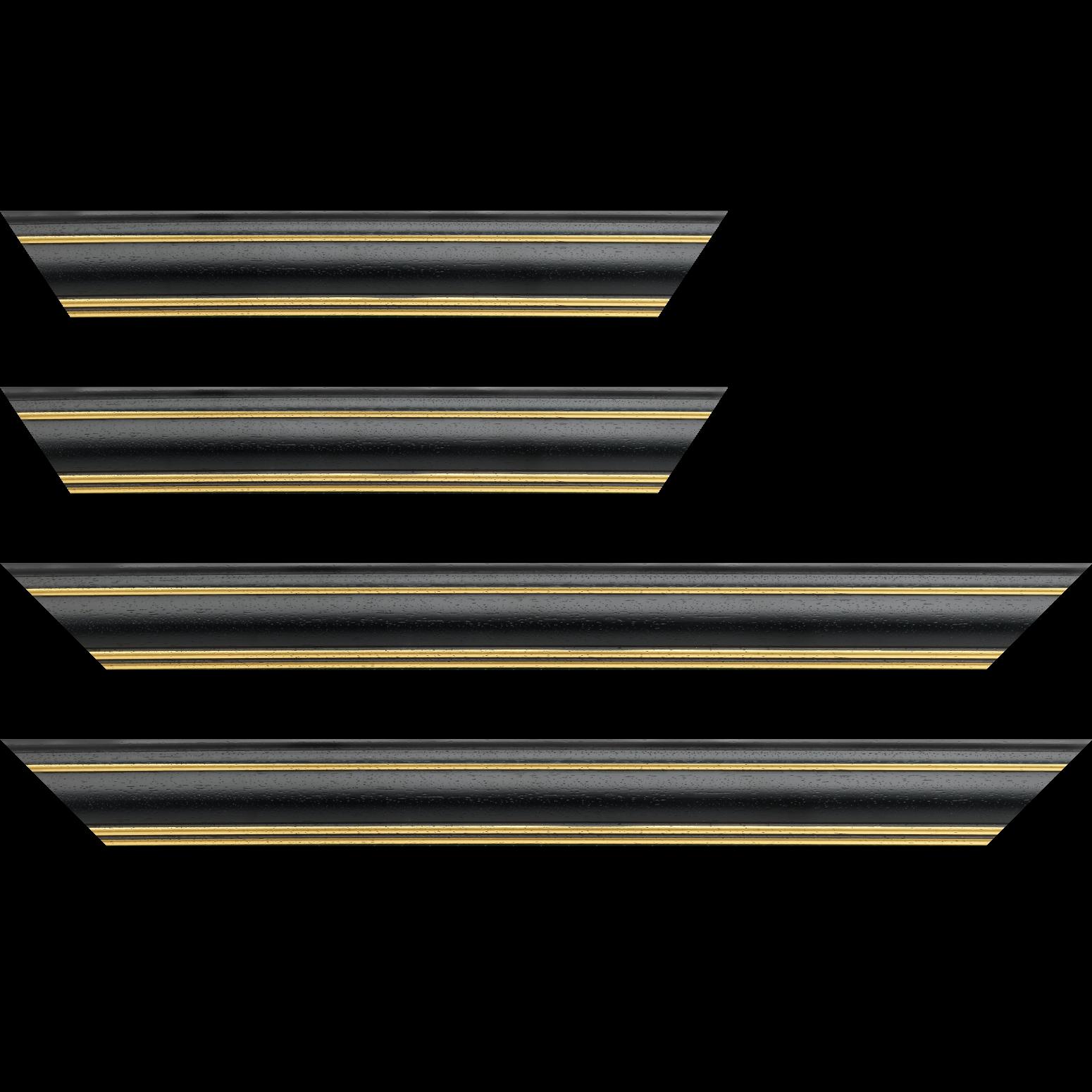 Baguette service précoupé bois profil bombé largeur 5cm couleur noir satiné filet or