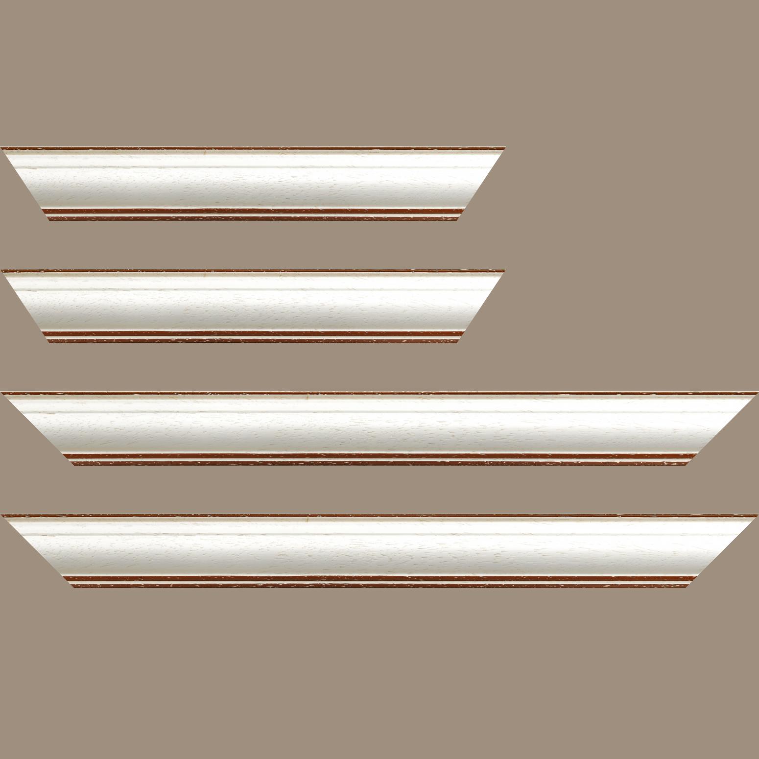 Baguette service précoupé bois profil bombé largeur 5cm couleur blanchie satiné filet marron foncé