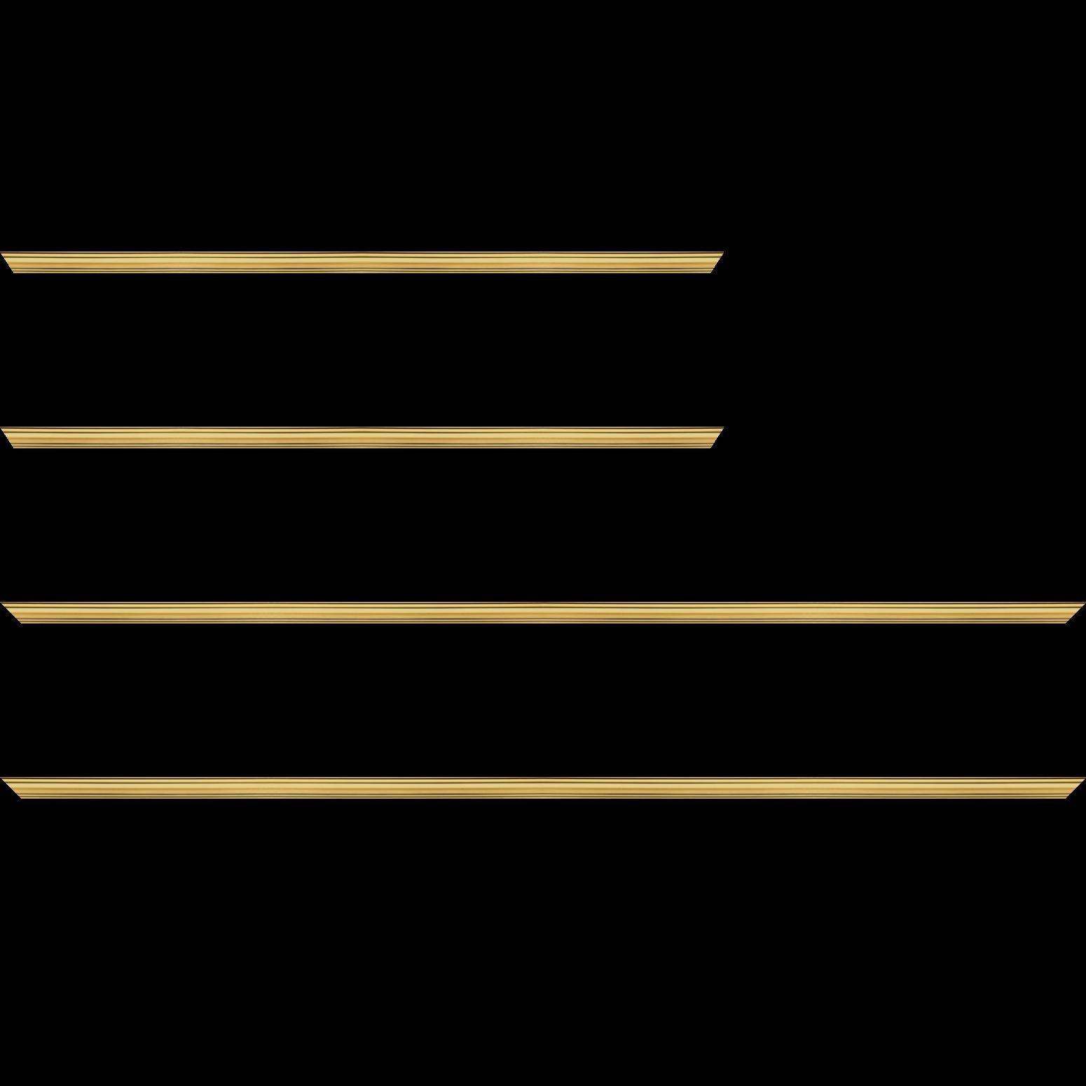 Baguette service précoupé bois profil bombé largeur 5cm couleur or filet noir