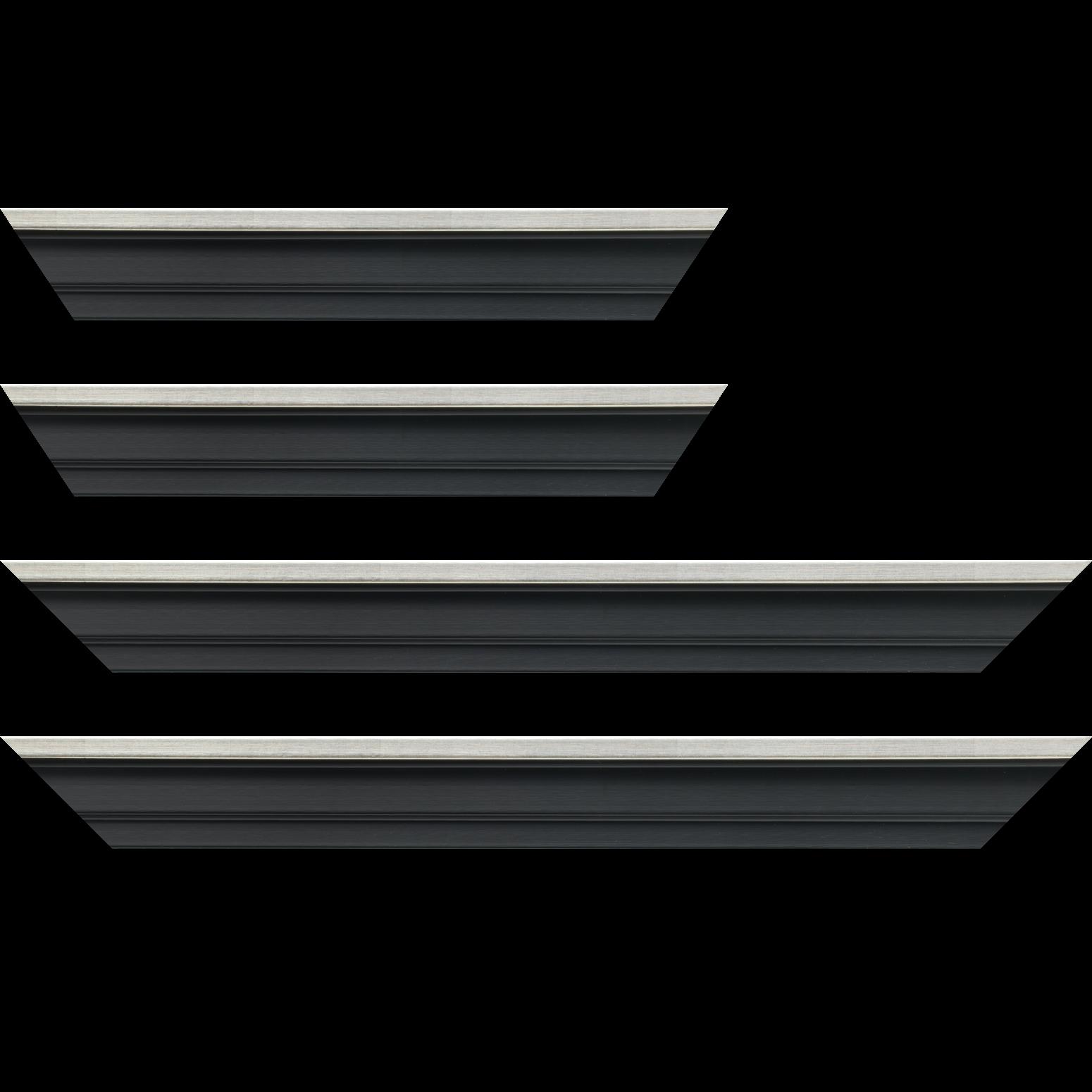 Baguette service précoupé Bois caisse américaine profil escalier largeur 4.5cm noir mat  filet argent (spécialement conçu pour les châssis d'une épaisseur jusqu'à 2.5cm )