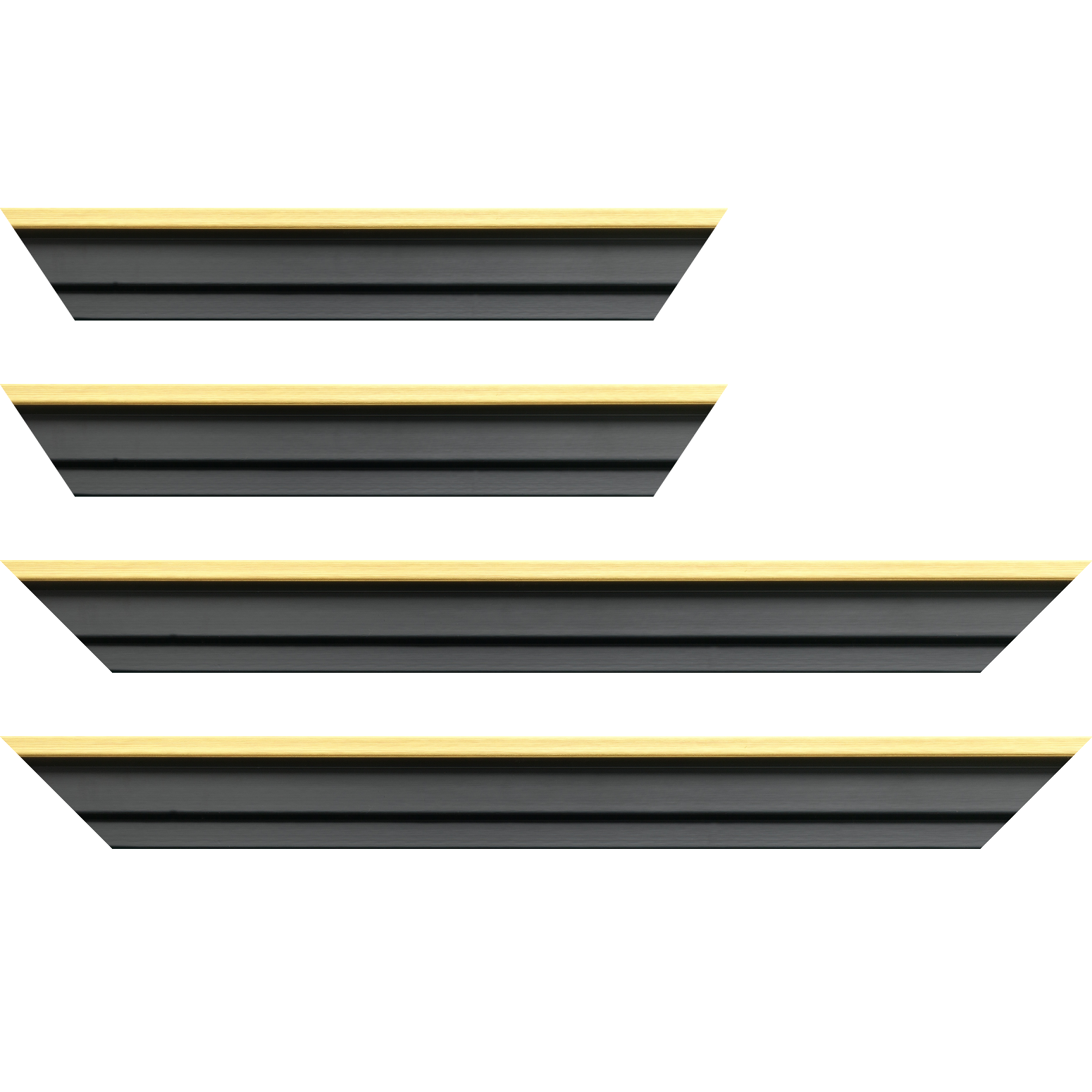 Baguette service précoupé Bois caisse américaine profil escalier largeur 4.5cm noir mat  filet or (spécialement conçu pour les châssis d'une épaisseur jusqu'à 2.5cm )