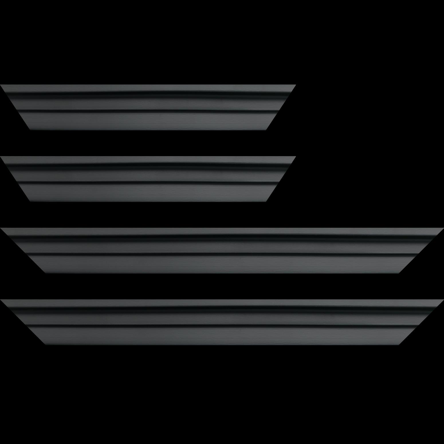 Baguette service précoupé Bois caisse américaine profil escalier largeur 4.5cm noir mat (spécialement conçu pour les châssis d'une épaisseur jusqu'à 2.5cm )