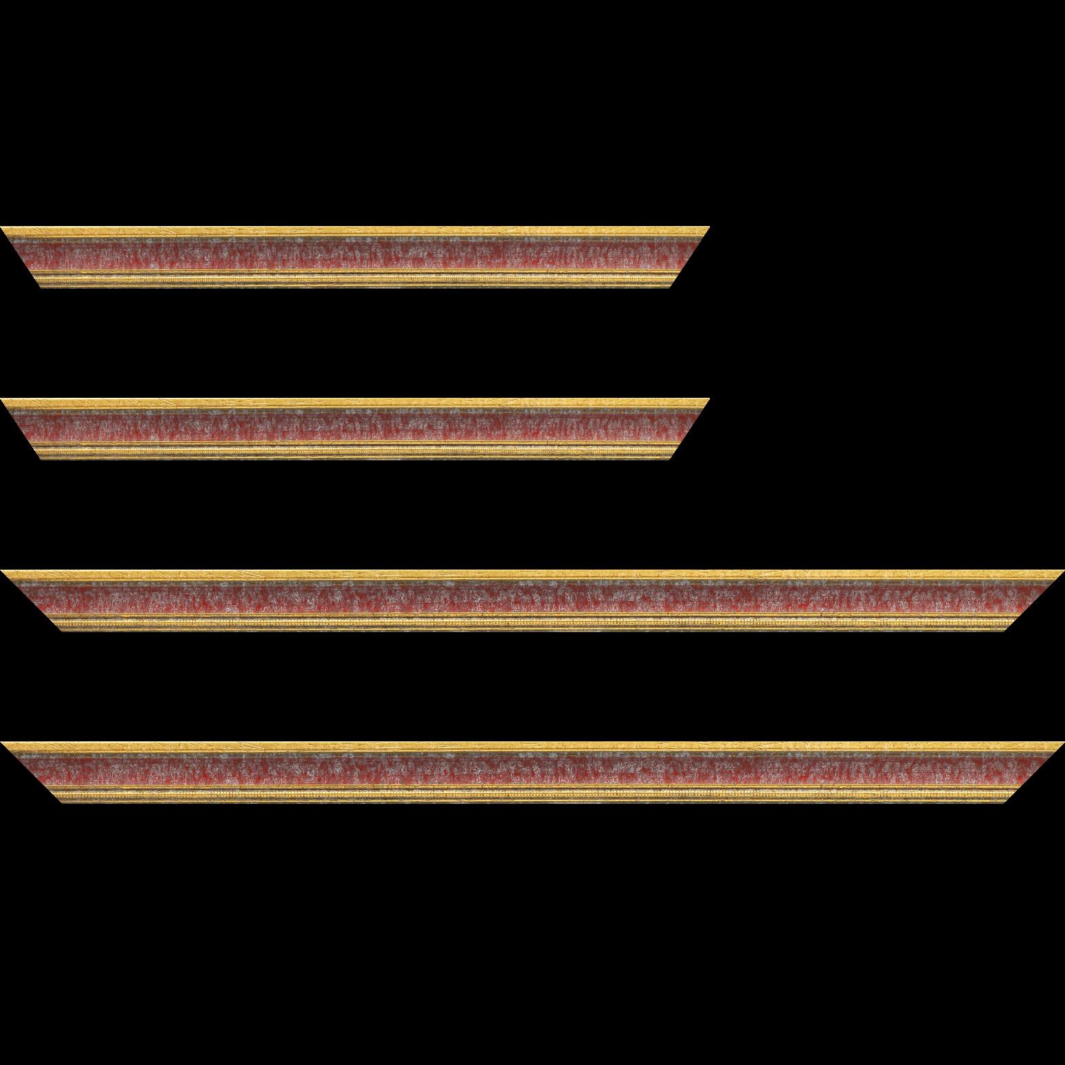 Baguette service précoupé Bois profil incuvé largeur 2.4cm  or antique gorge rouge cerise filet perle or