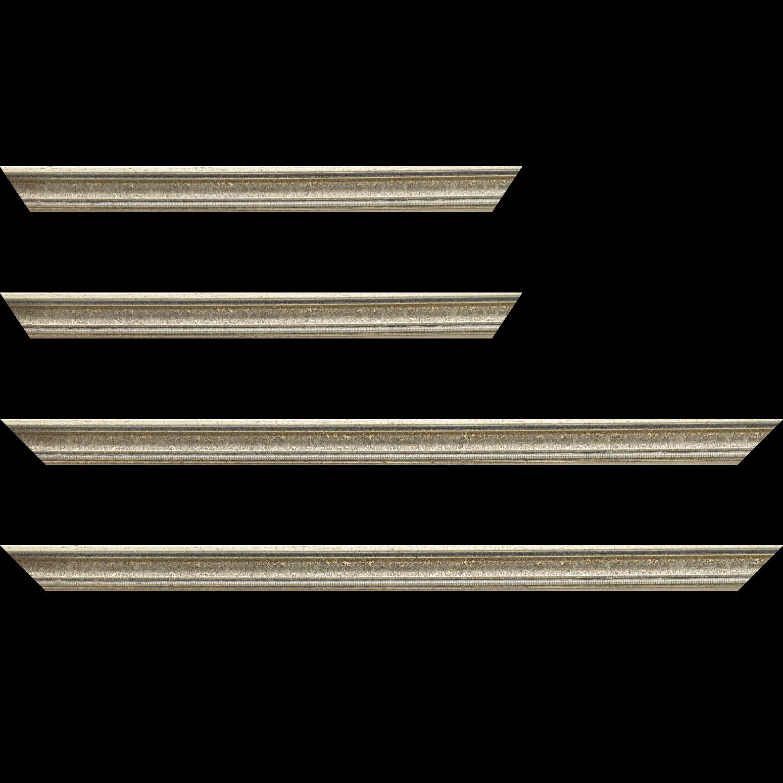 Baguette service précoupé Bois profil incuvé largeur 2.4cm argent antique gorge argent filet perle or