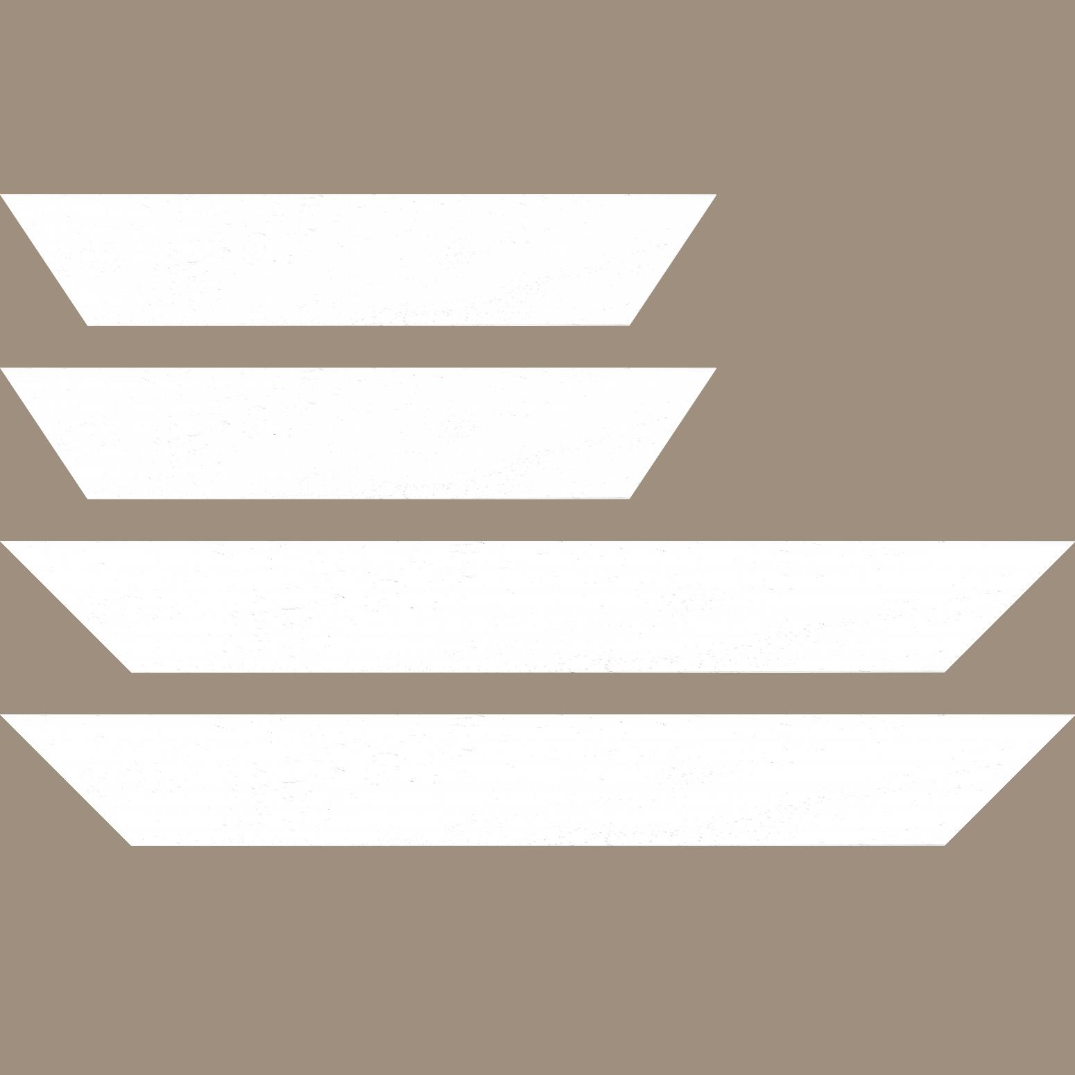 Baguette service précoupé Bois profil plat largeur 5.9cm couleur blanc satiné