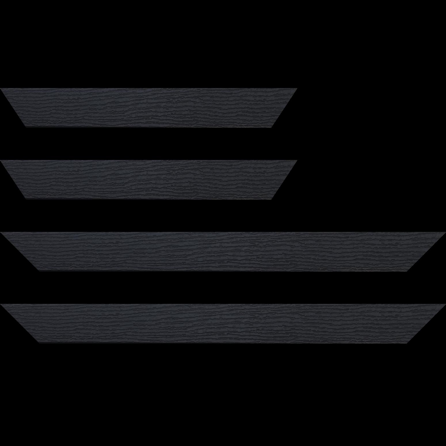 Baguette service précoupé Bois profil plat largeur 4.4cm couleur noir ébène  finition veiné