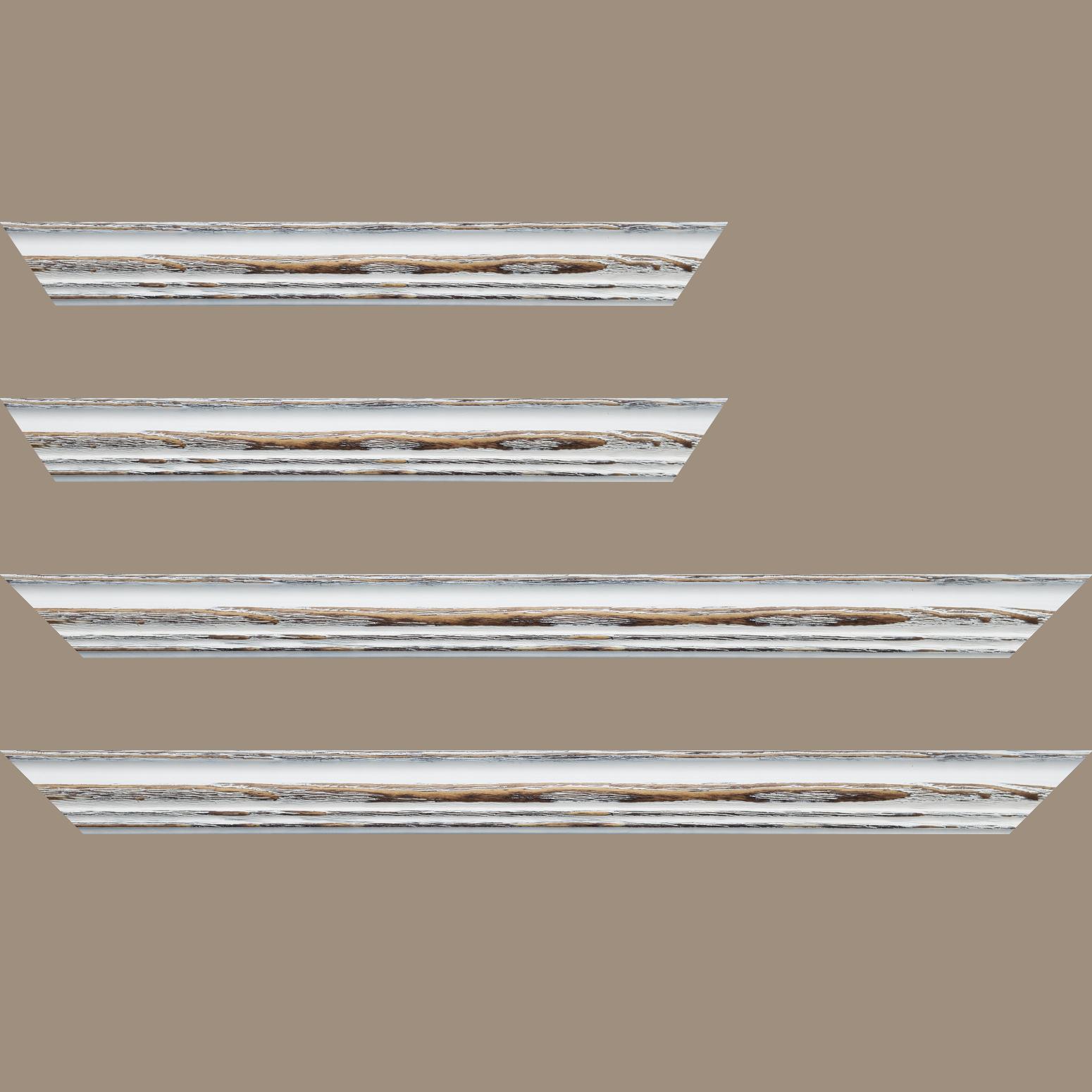 Baguette service précoupé Bois sapin largeur 3.9cm couleur blanchie réessuyée