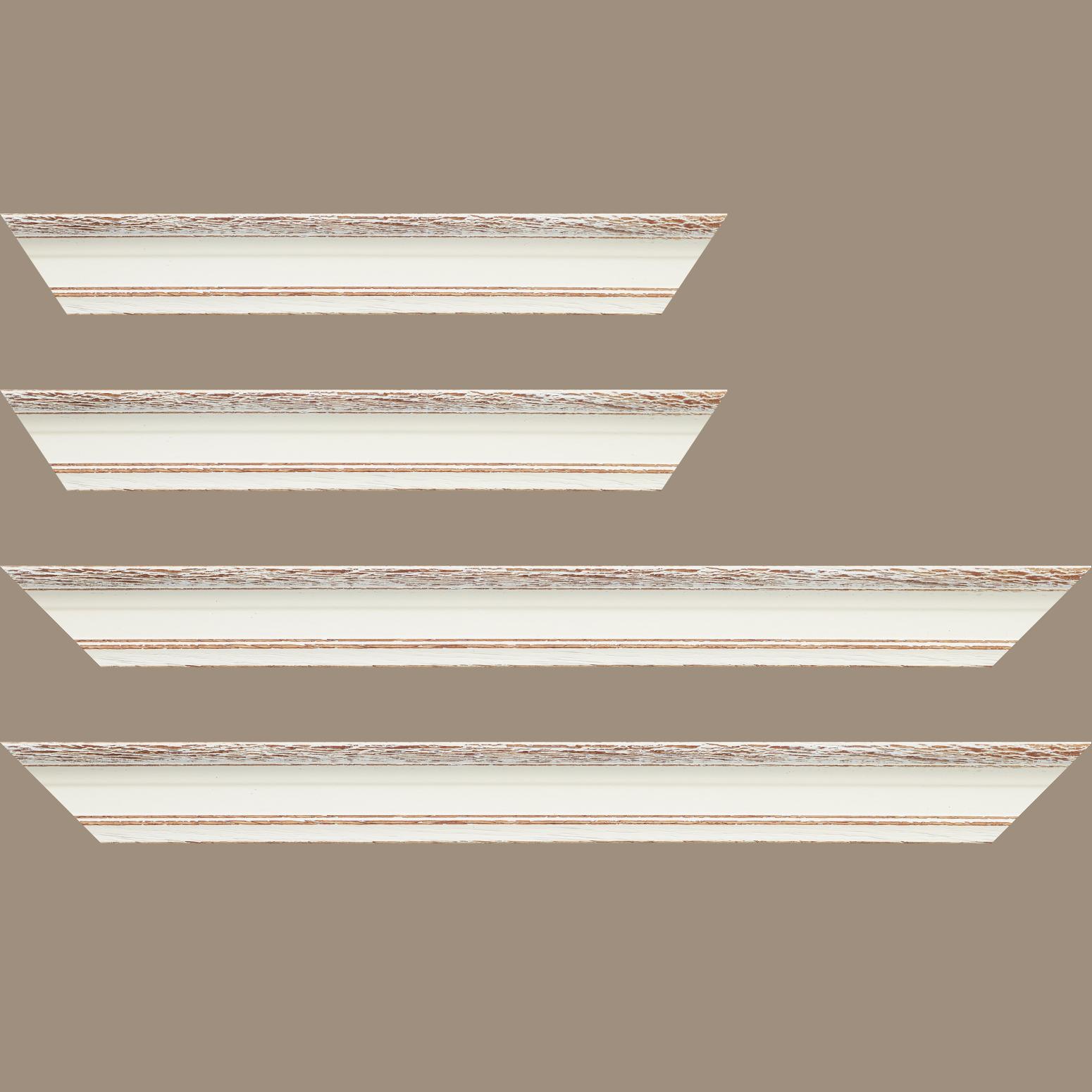Baguette service précoupé Bois profil braque largeur 4.5cm couleur blanchie