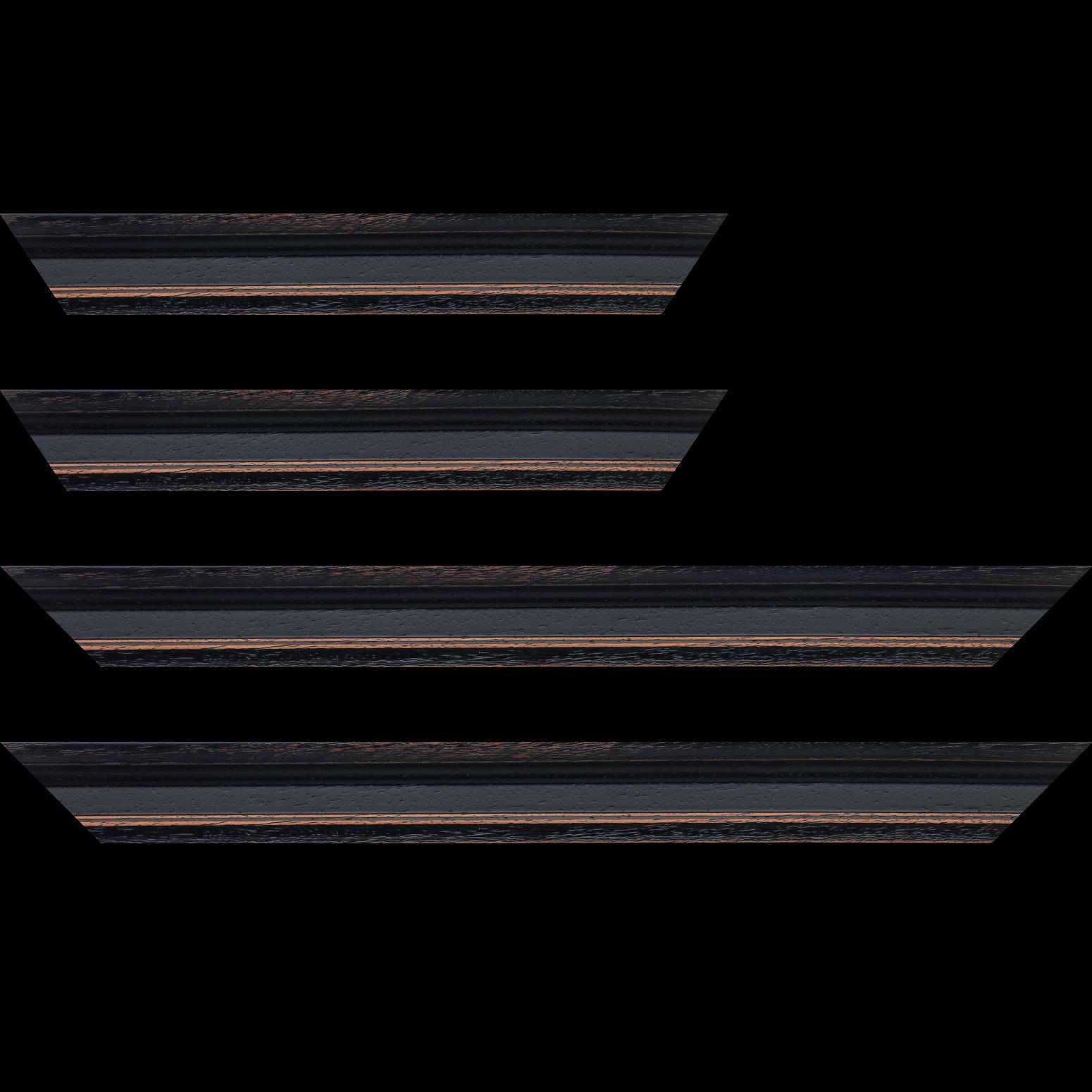 Baguette service précoupé Bois profil braque largeur 4.5cm couleur noir antique